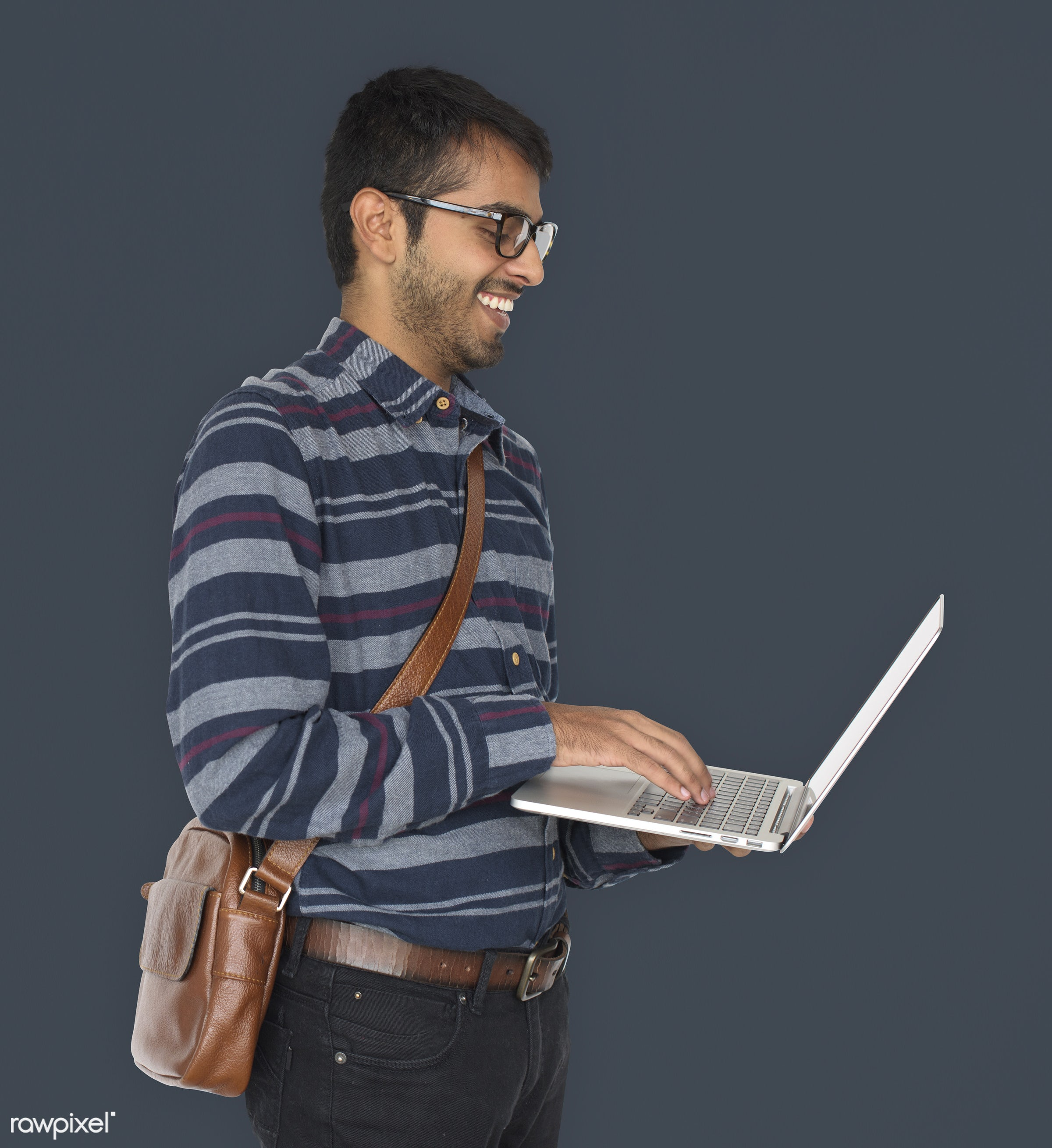 studio, expression, person, technology, holding, people, asian, lifestyle, laptop, positive, smile, cheerful, isolated,...