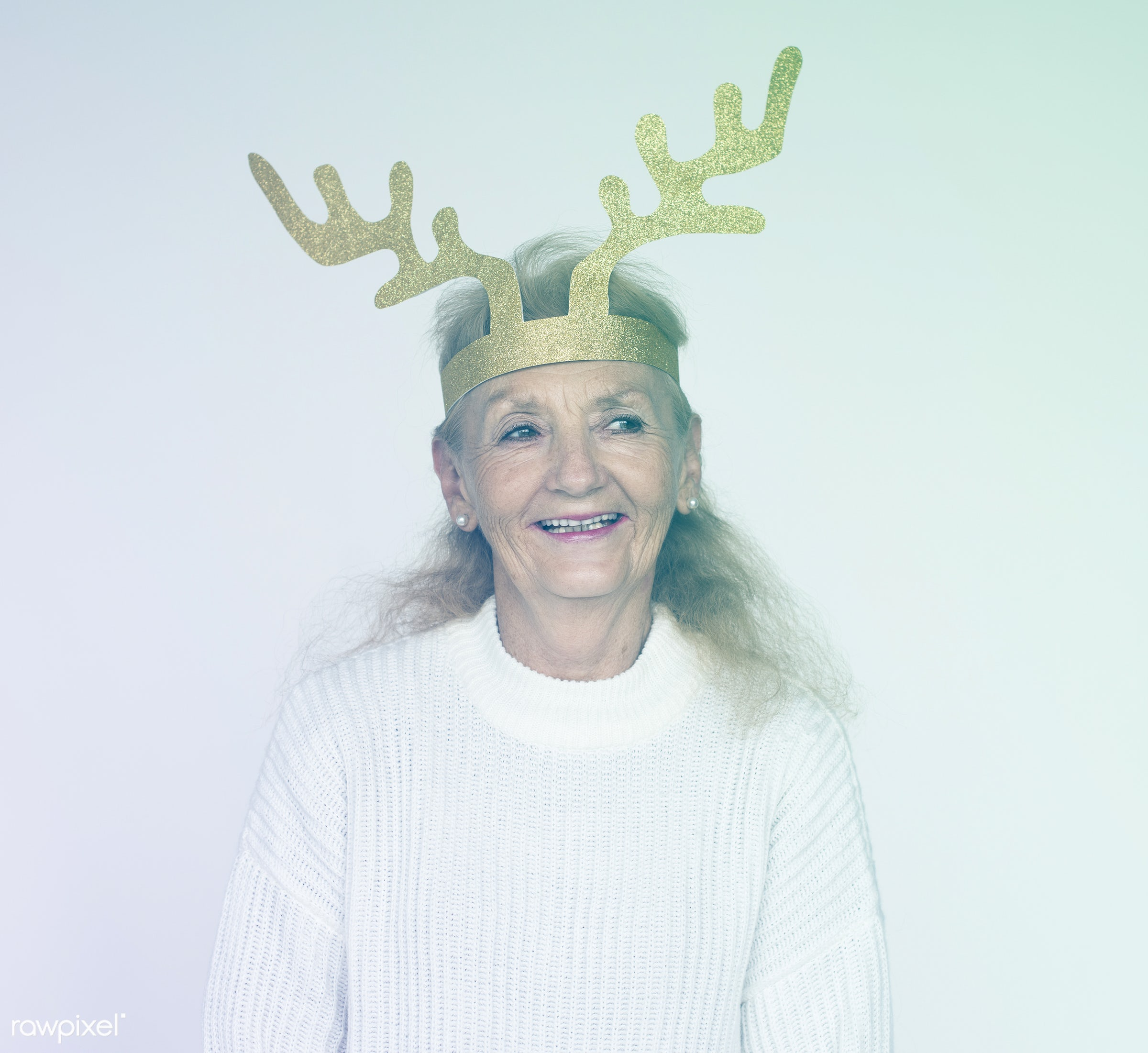 studio, expression, craft, person, people, caucasian, woman, lifestyle, smile, positive, cheerful, deer, isolated, paper...
