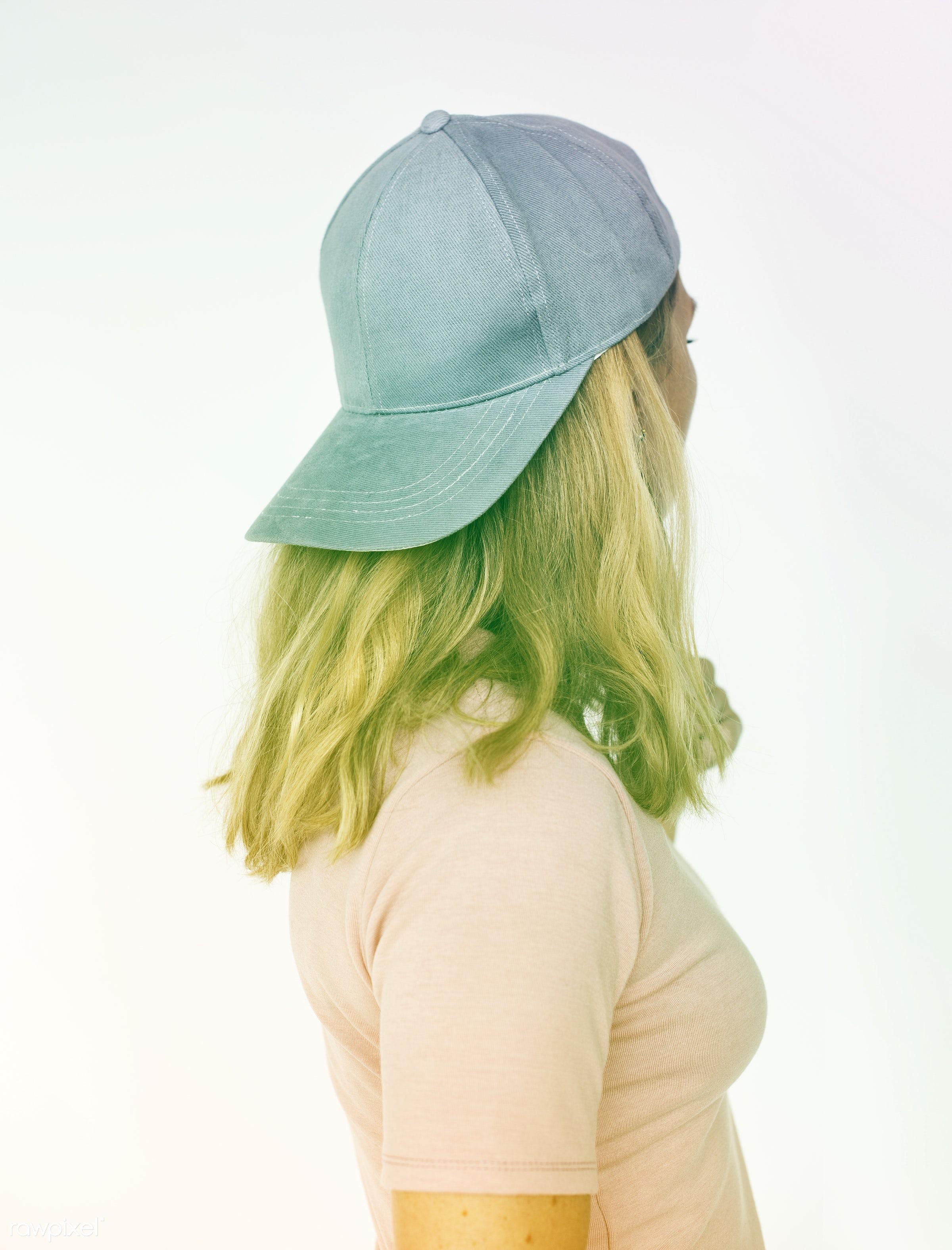 studio, person, boyish, people, caucasian, hat, woman, isolated, white, portrait, confident, filter, cap, beauty, cute,...