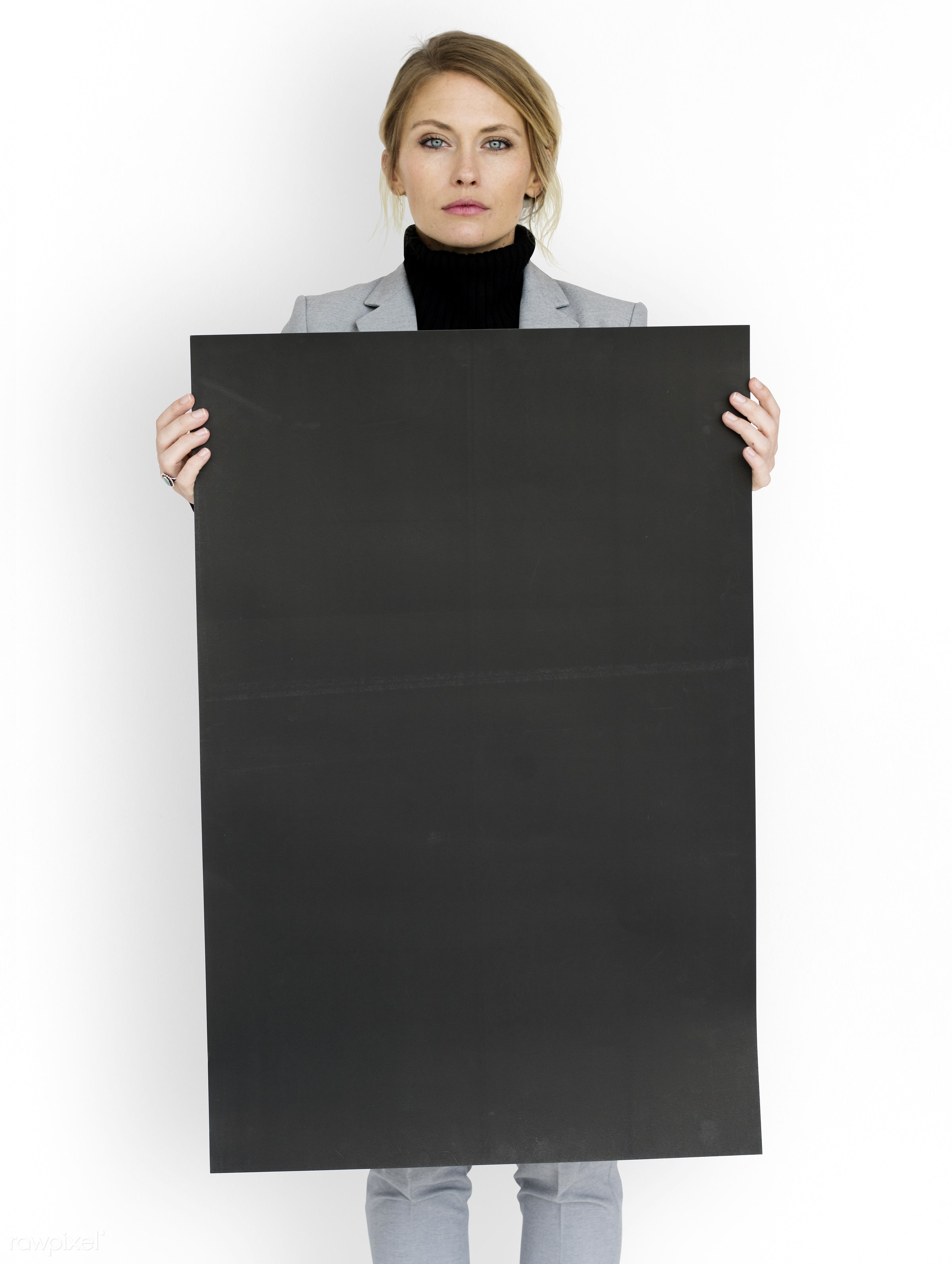 studio, expression, person, holding, courage, people, placard, woman, isolated, white, businesswoman, portrait, charming,...