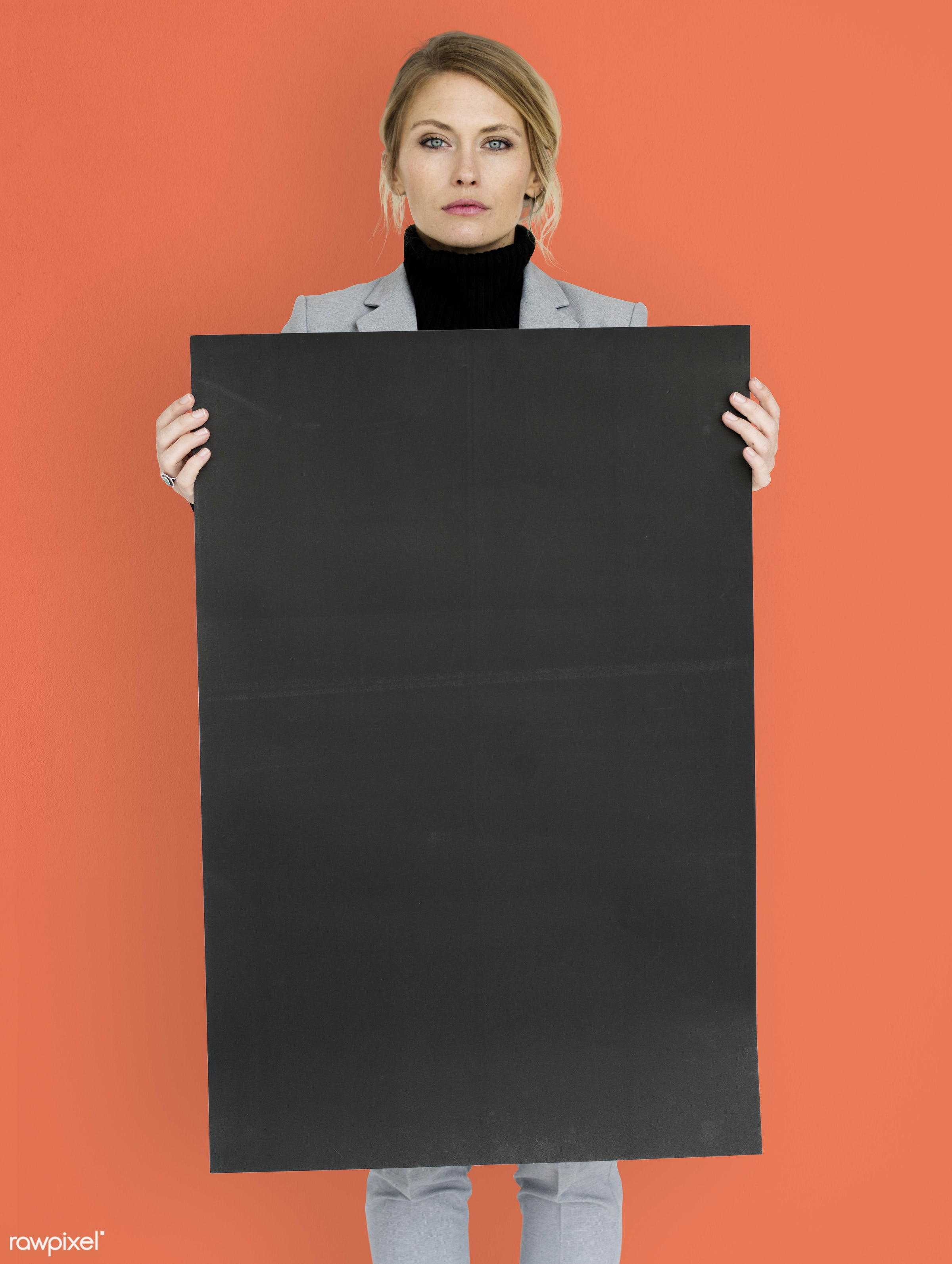 studio, expression, person, holding, courage, people, placard, woman, orange, isolated, businesswoman, portrait, charming,...