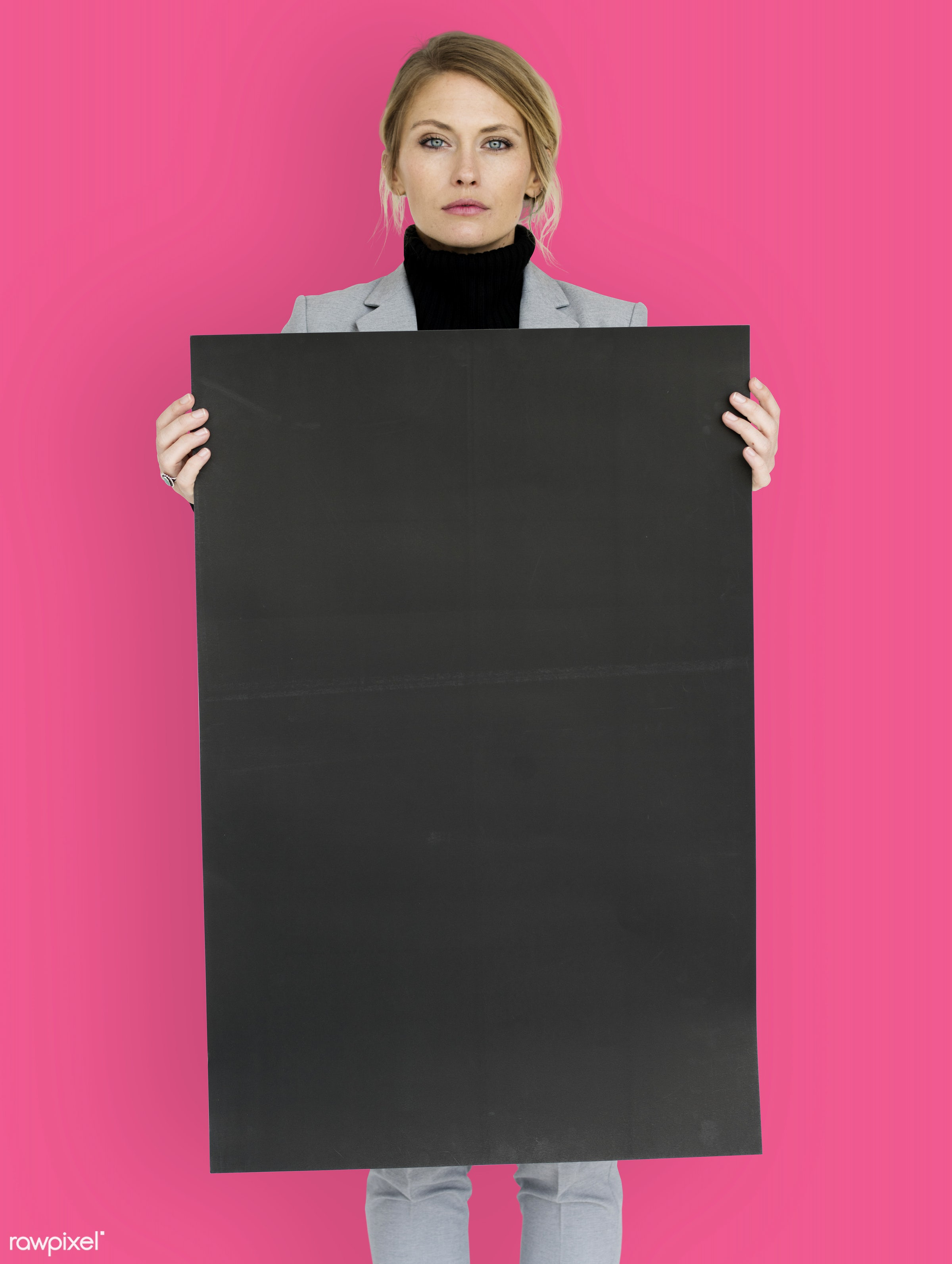 studio, expression, person, holding, courage, people, placard, woman, pink, isolated, businesswoman, portrait, charming,...