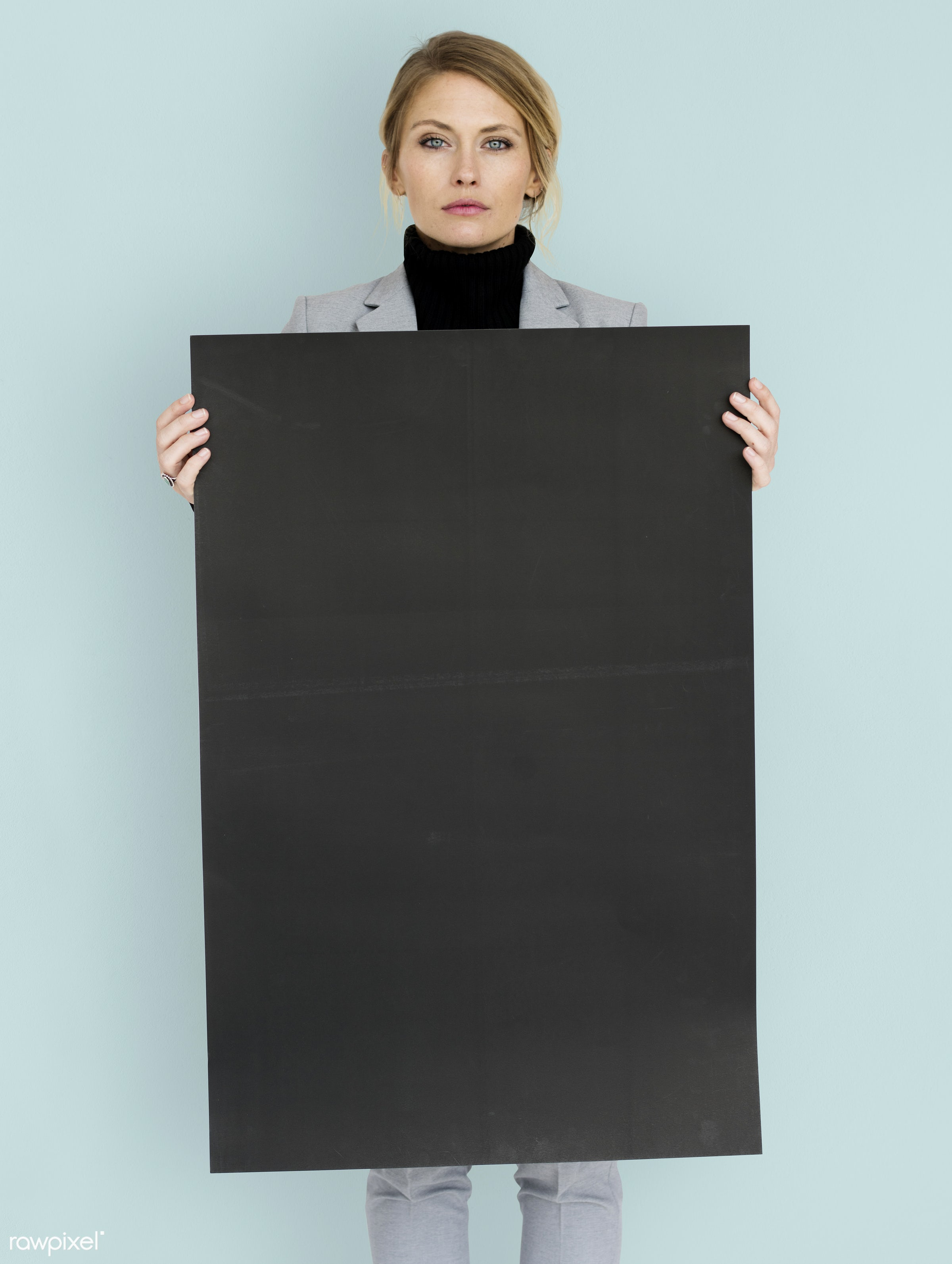 studio, expression, person, holding, courage, people, placard, woman, isolated, businesswoman, portrait, charming, face,...