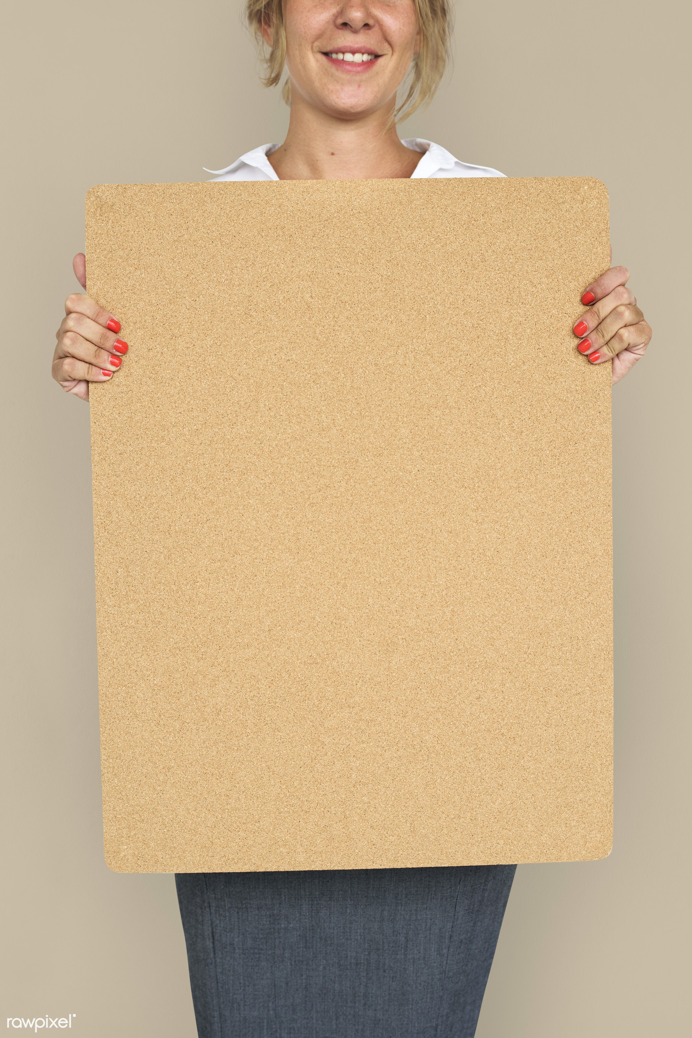 studio, expression, person, holding, courage, people, placard, woman, smile, cheerful, smiling, isolated, businesswoman,...