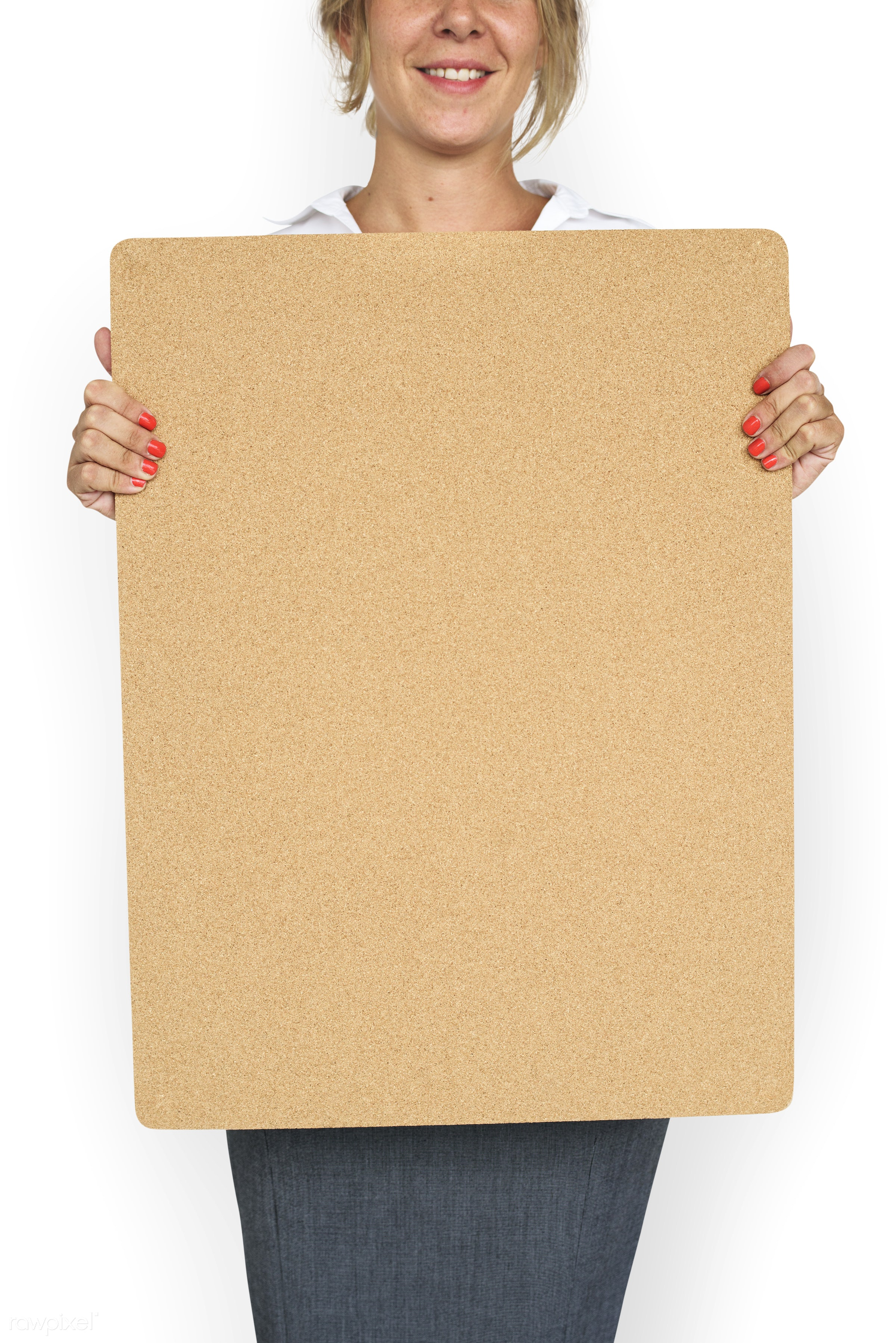 studio, expression, person, holding, courage, people, placard, woman, smile, cheerful, smiling, isolated, white,...