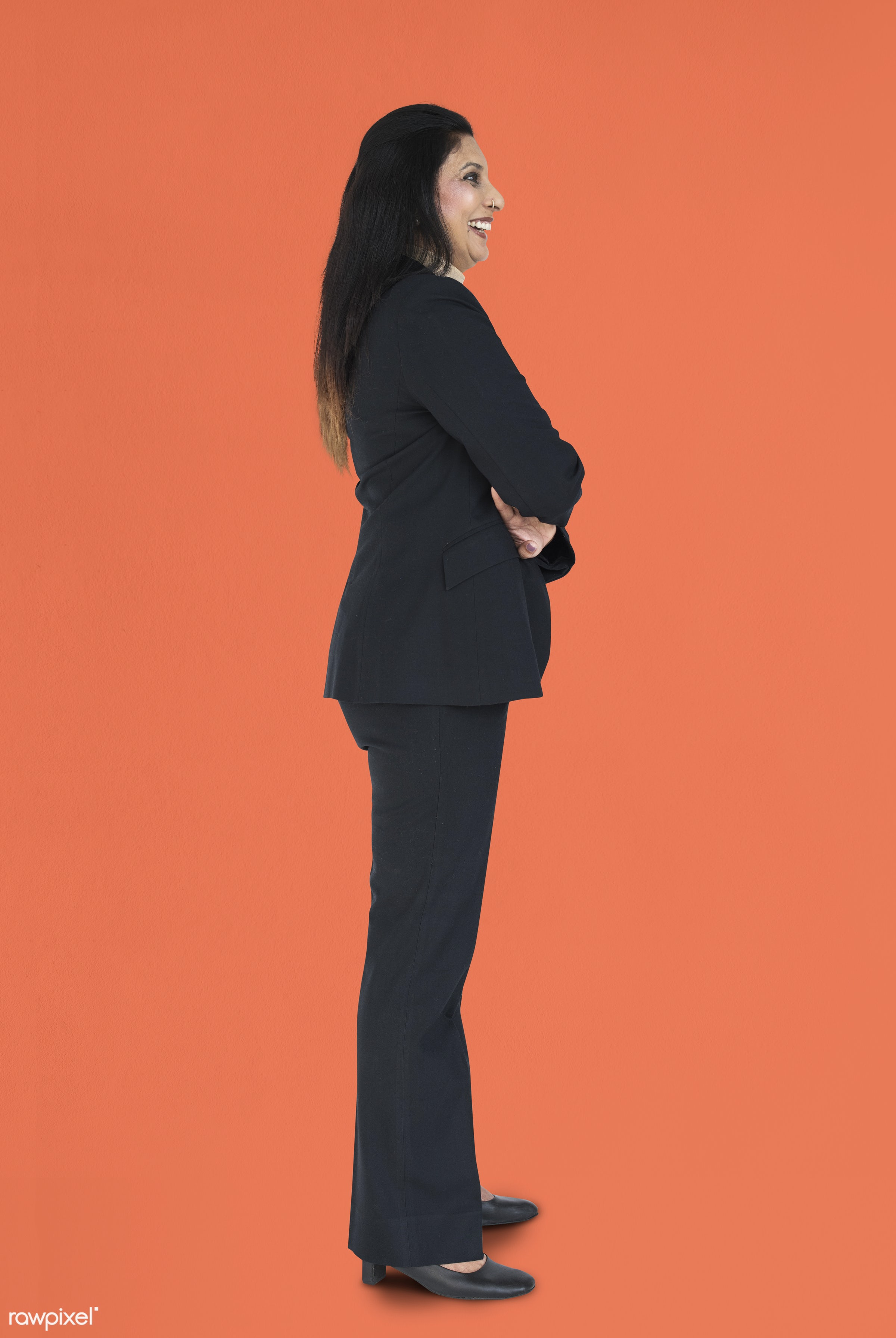 expression, studio, person, people, woman, smile, cheerful, smiling, orange, isolated, happiness, businesswoman, portrait,...