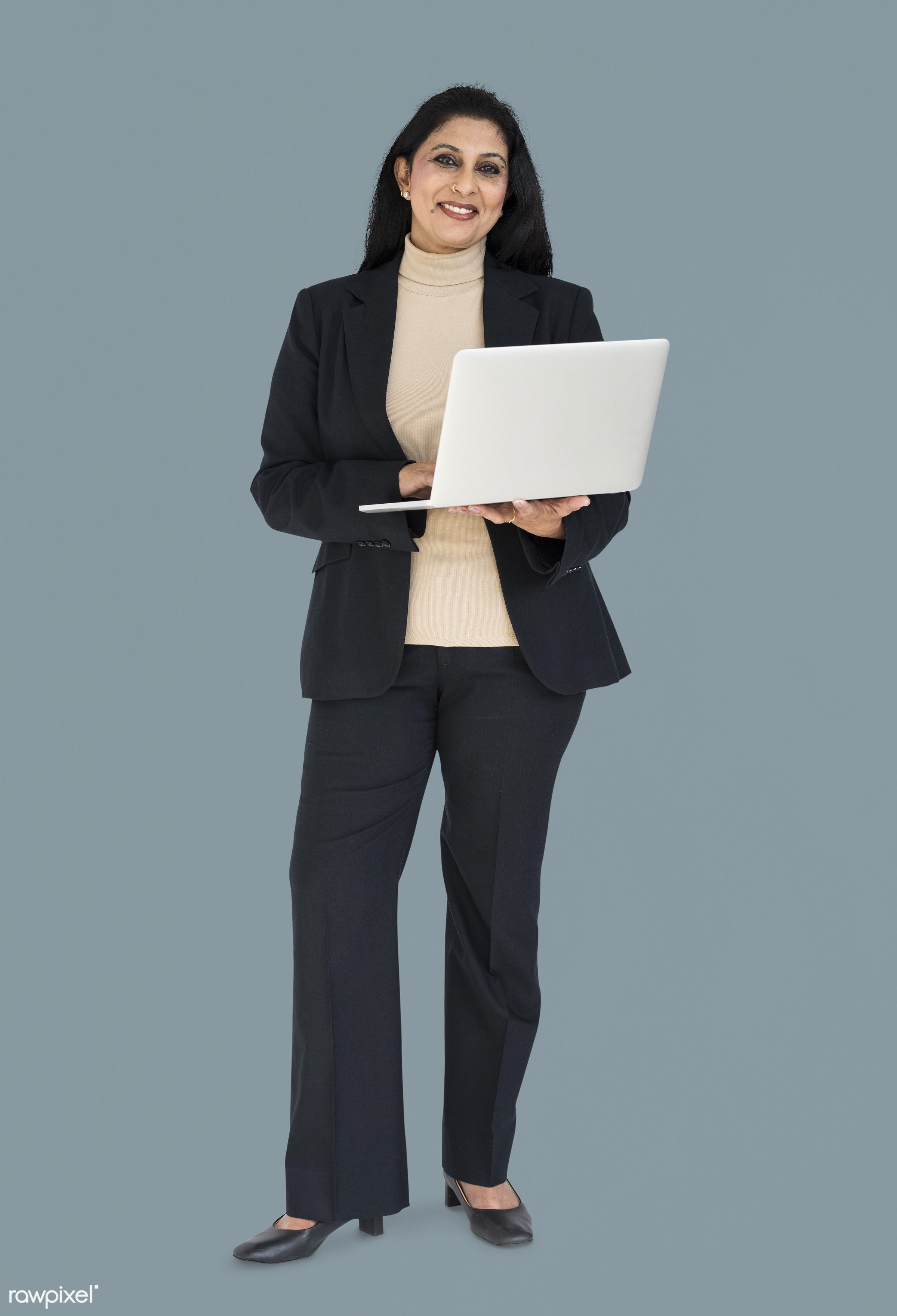 expression, studio, person, business wear, people, formal dressing, business, asian, girl, woman, happy, laptop, smile,...