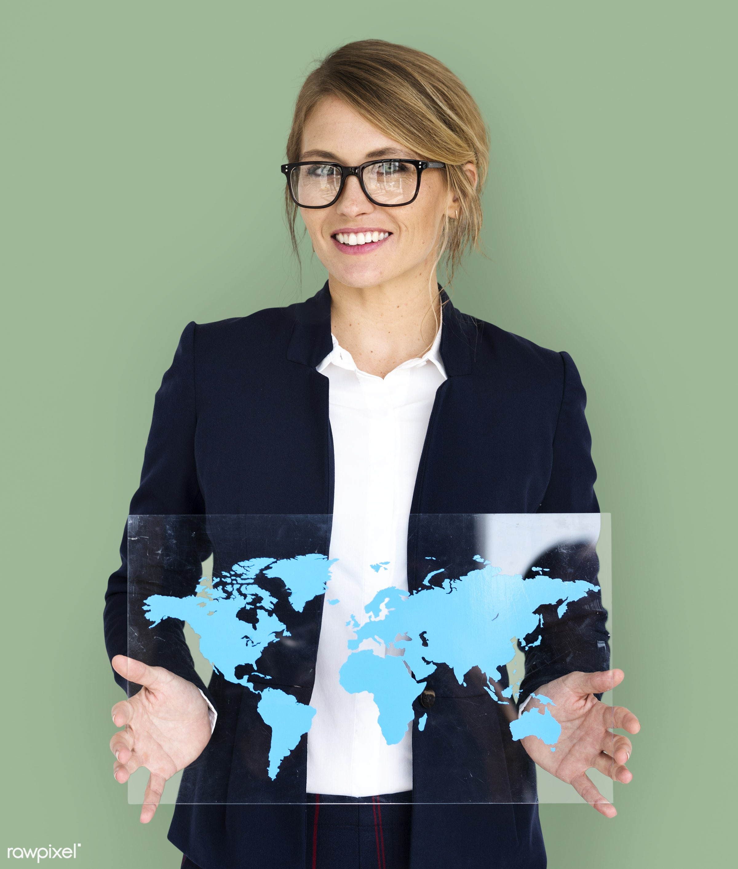 studio, expression, person, holding, people, placard, woman, smile, cheerful, smiling, isolated, connection, global,...