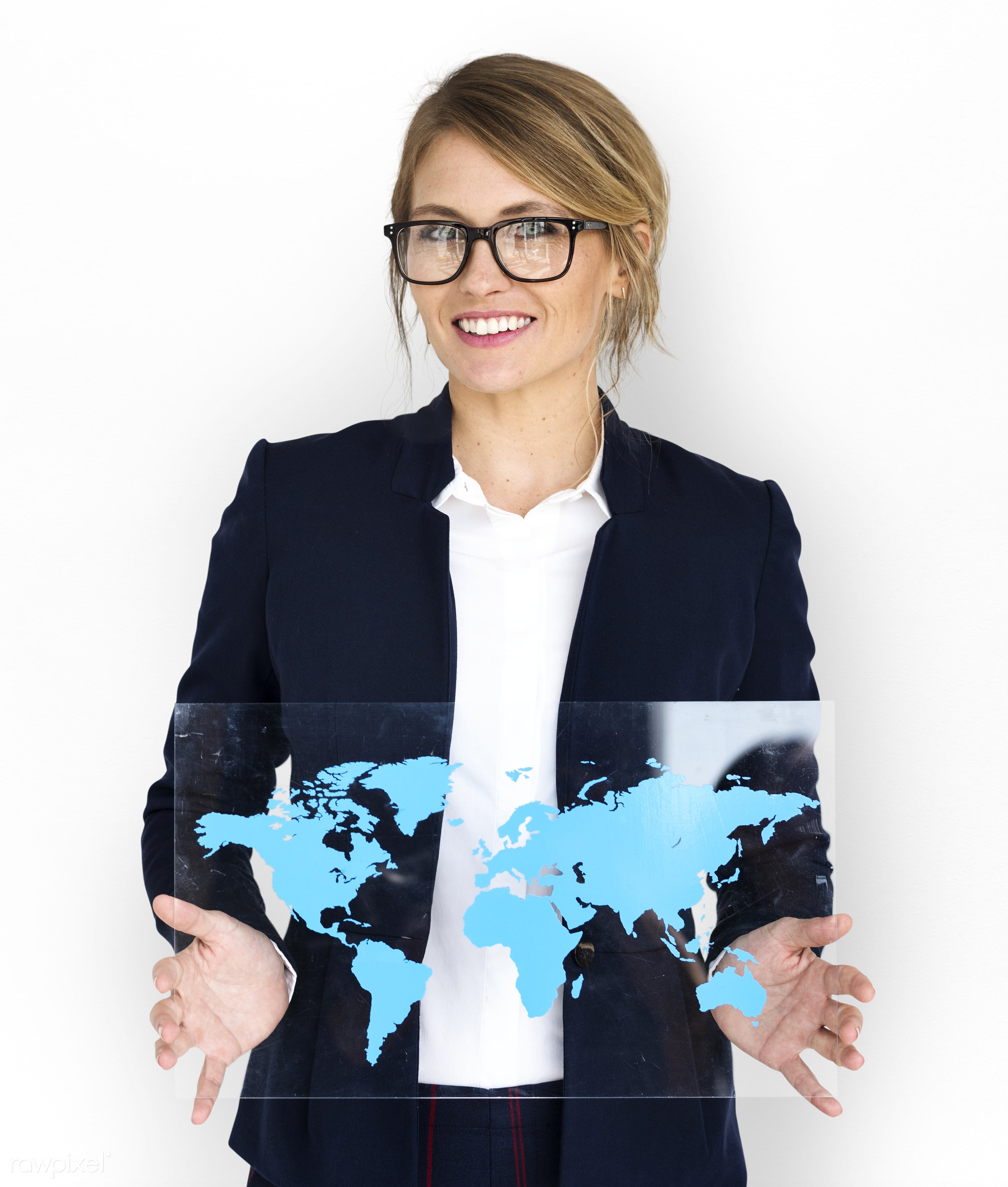 studio, expression, person, holding, people, placard, woman, smile, cheerful, smiling, isolated, connection, global, white,...