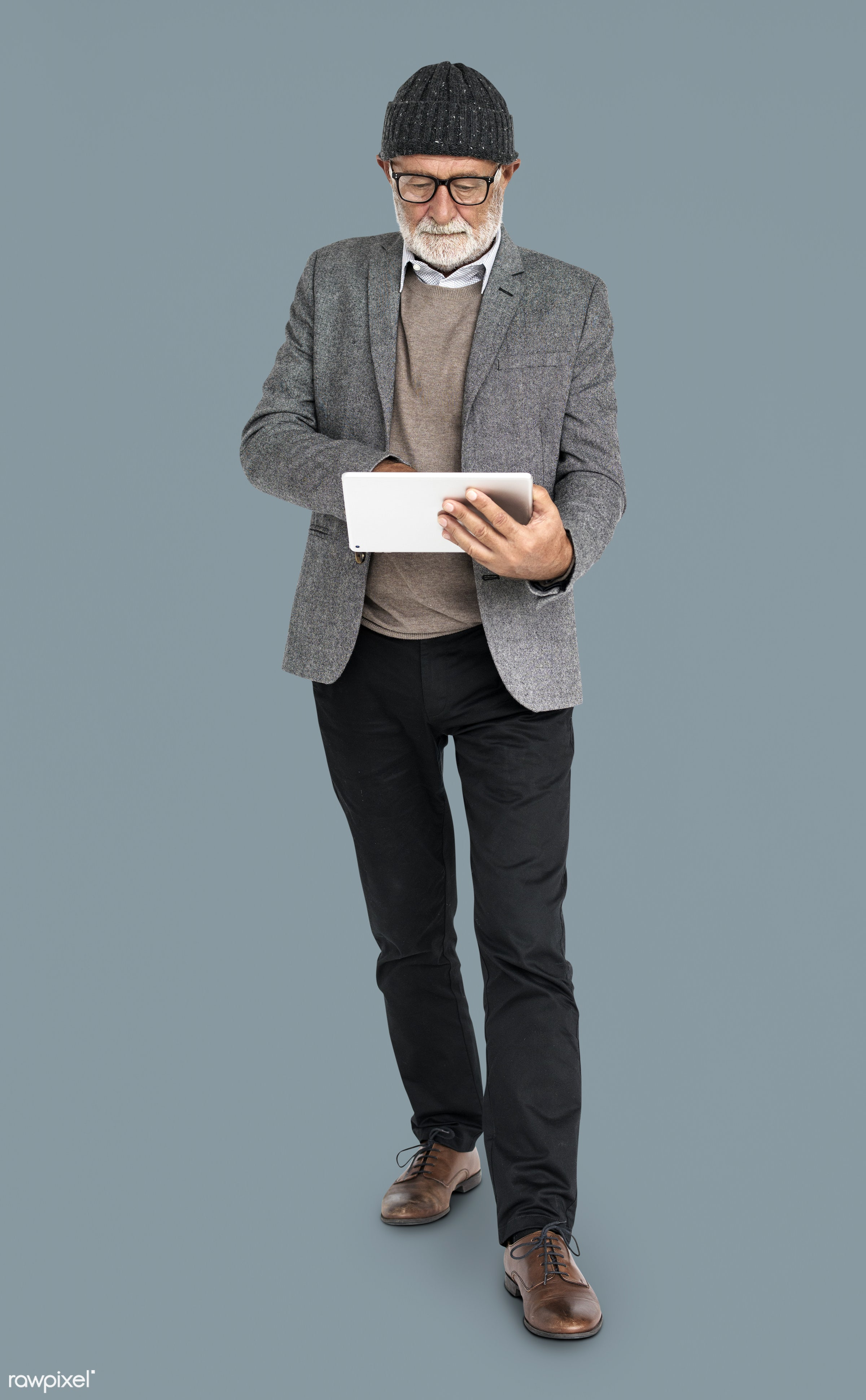 expression, studio, person, technology, glasses, beanie, people, online, digital tablet, casual, grey, man, isolated,...