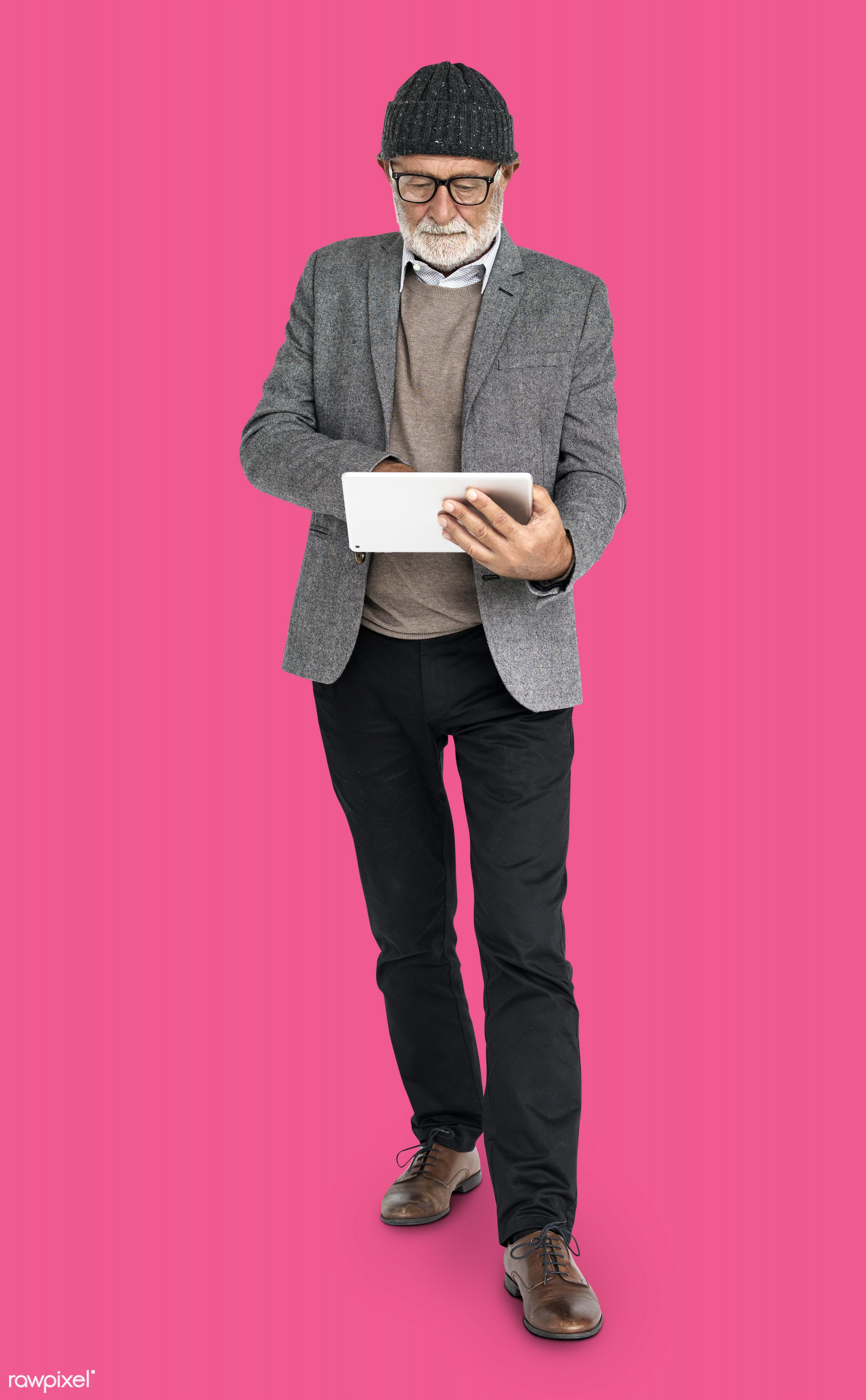 expression, studio, person, technology, glasses, beanie, people, online, digital tablet, casual, pink, man, isolated,...