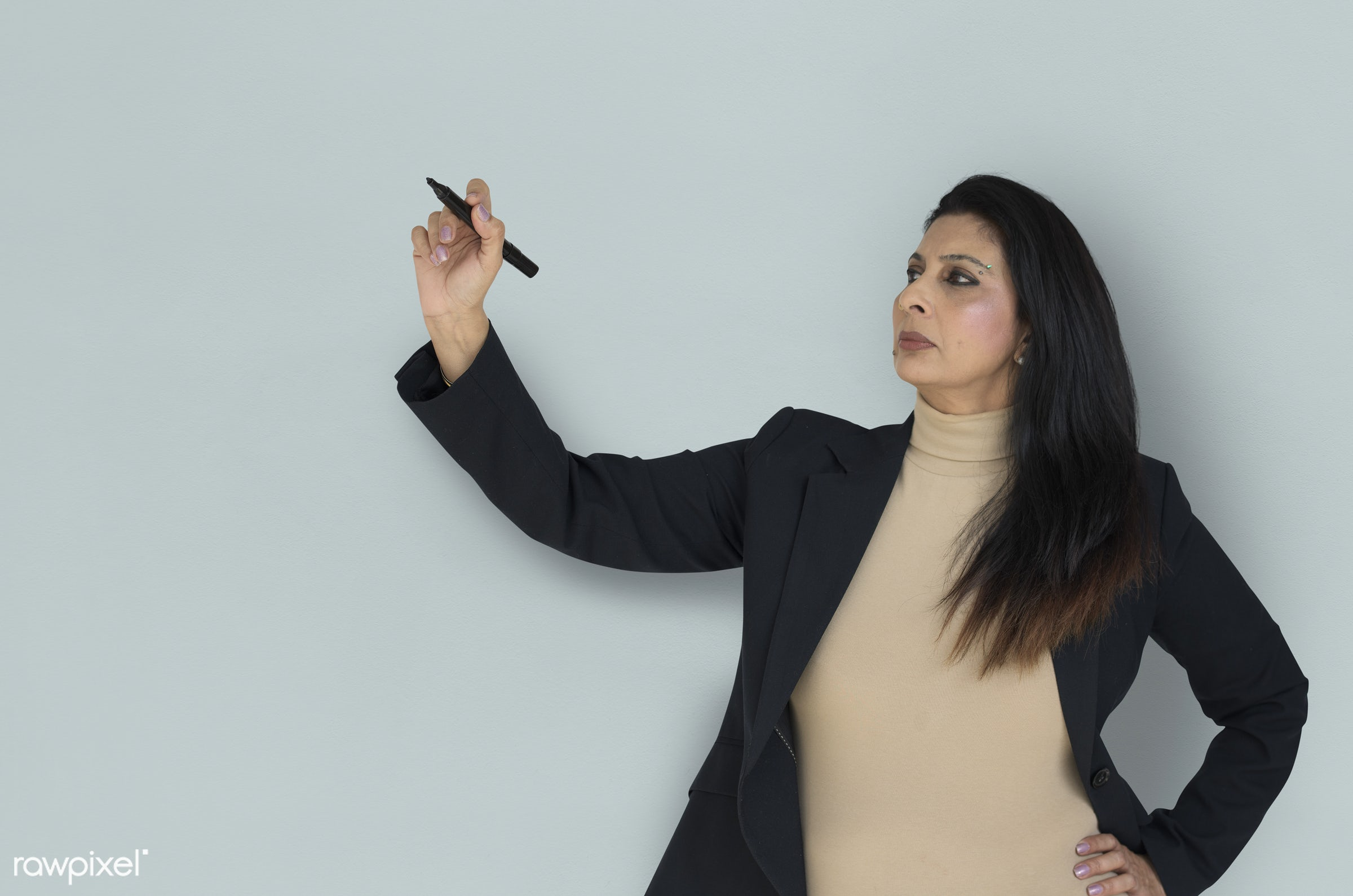 expression, studio, lecture, person, business wear, holding pen, writing, concentrating, people, asian, girl, woman, focused...