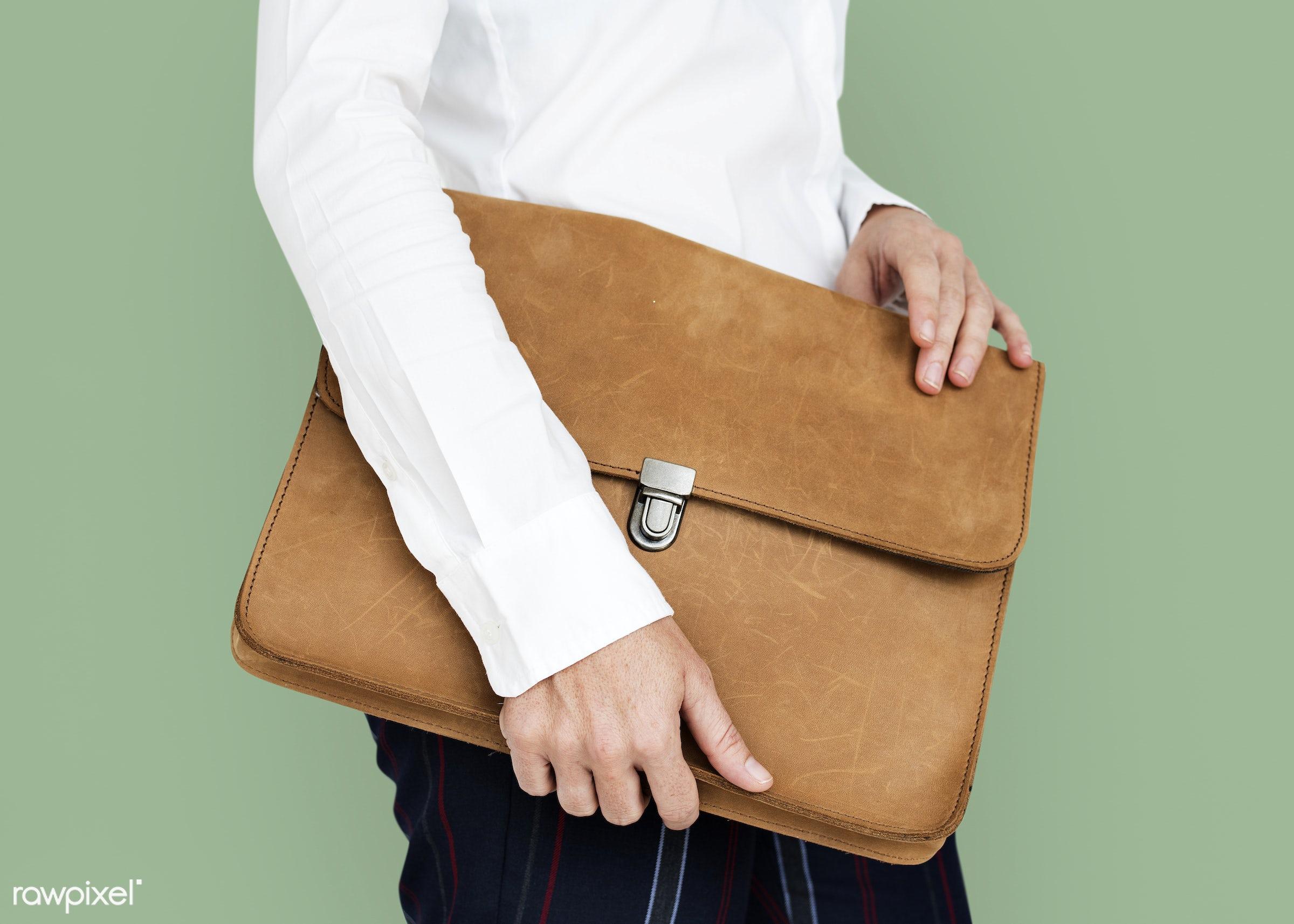expression, studio, person, business wear, holding, messenger bag, folder bag, people, business, hands, man, strapless, work...