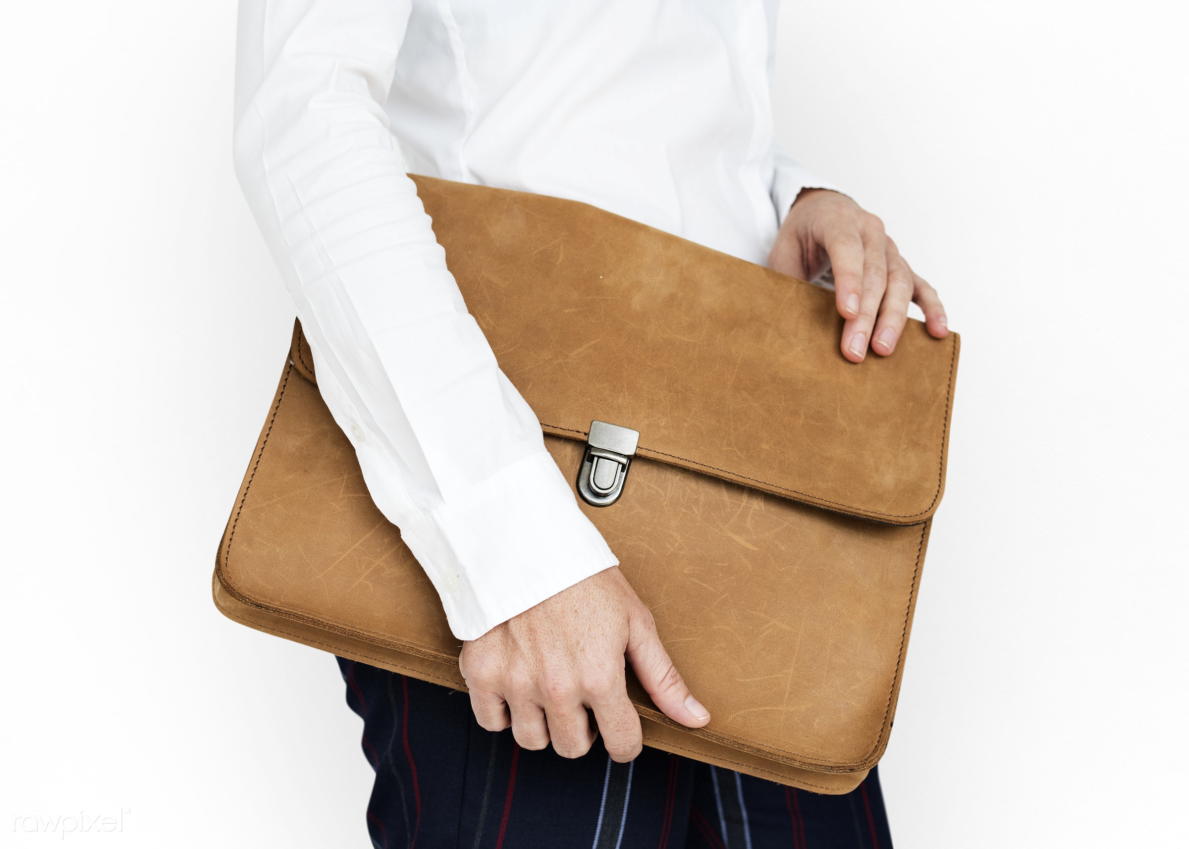 expression, studio, person, business wear, holding, messenger bag, isolated on white, folder bag, people, business, hands,...