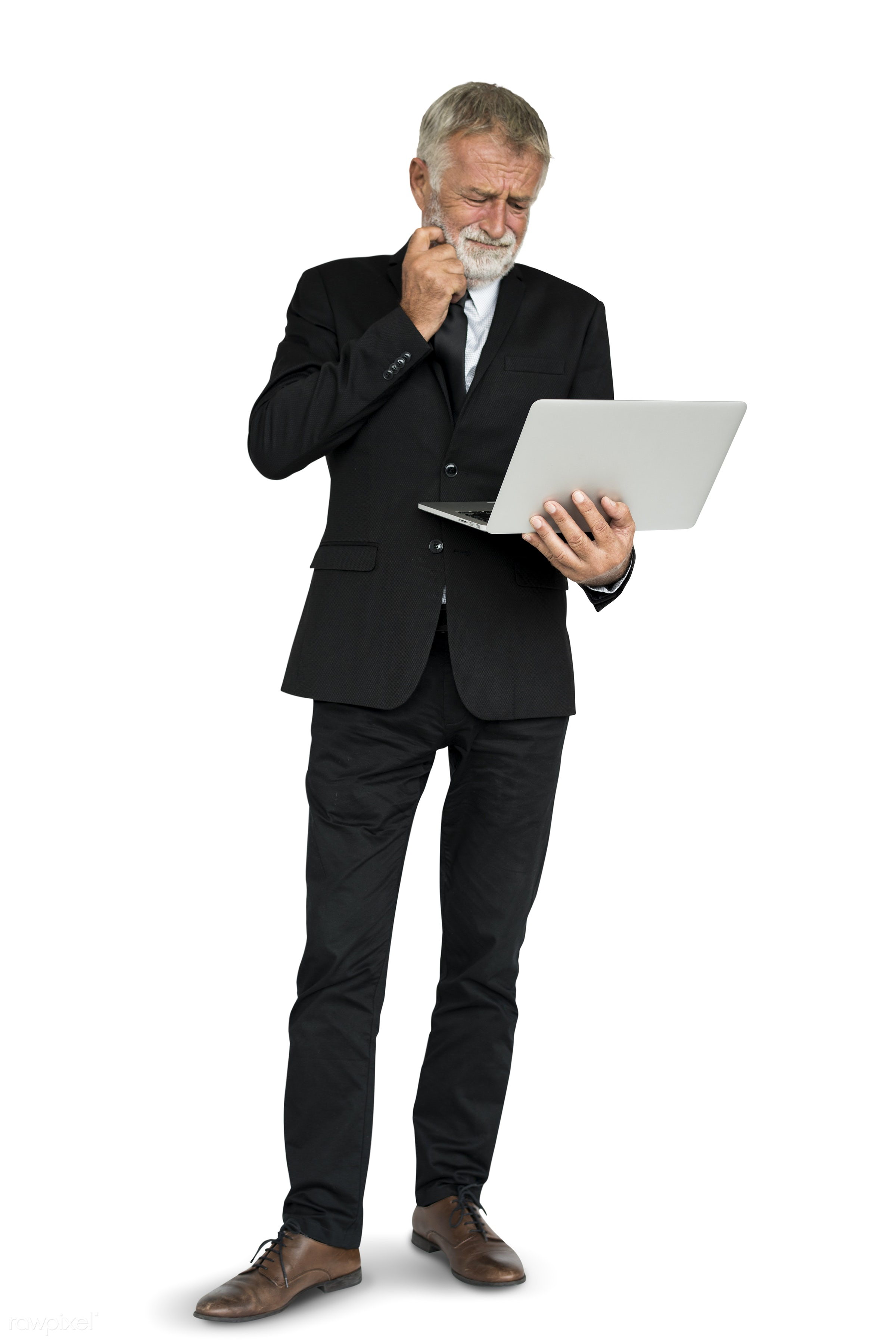 isolated on white, business man, hold, holding, laptop, man, stand, standing, suit, think, thinking