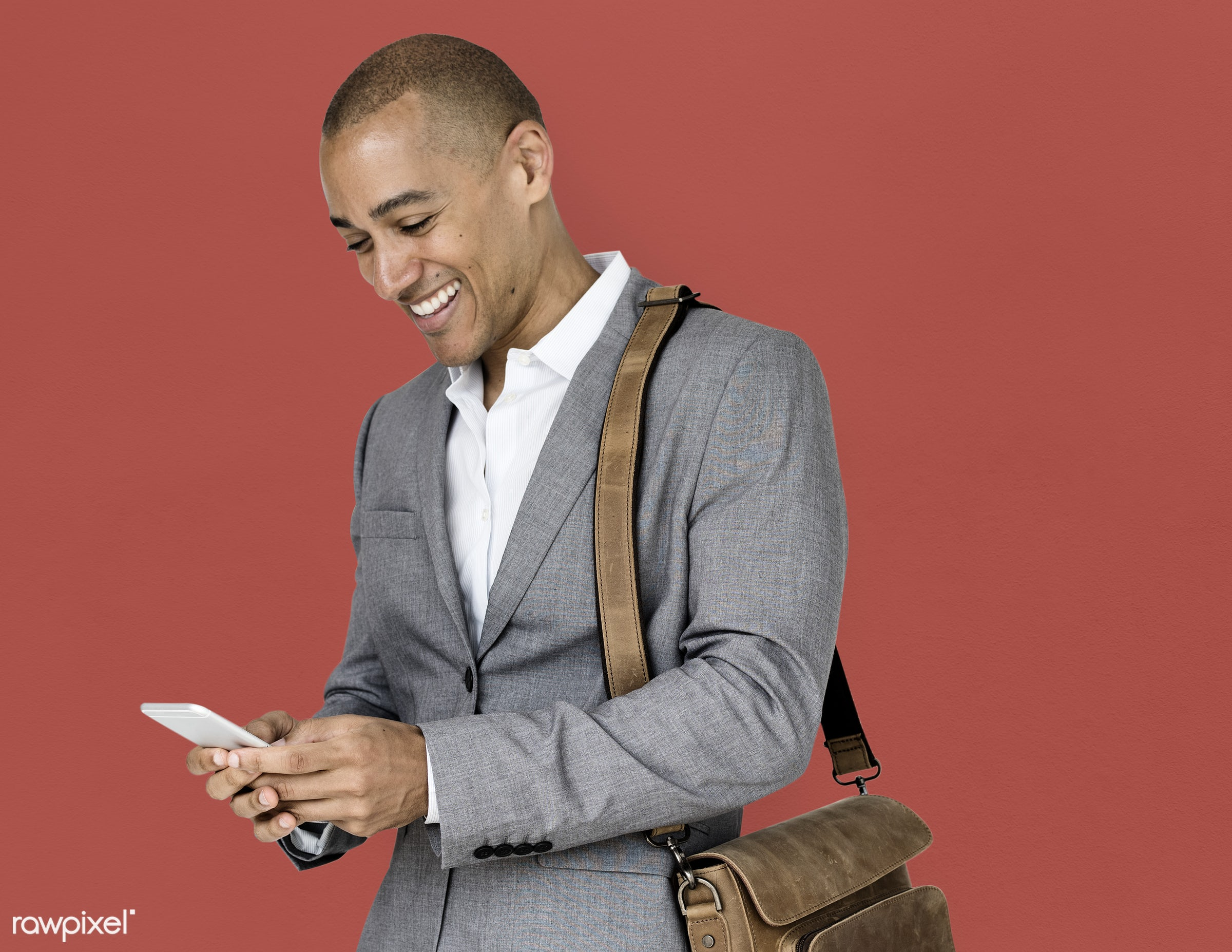 expression, studio, person, phone, messenger bag, people, business, happy, suits, smile, cheerful, smiling, man, black,...