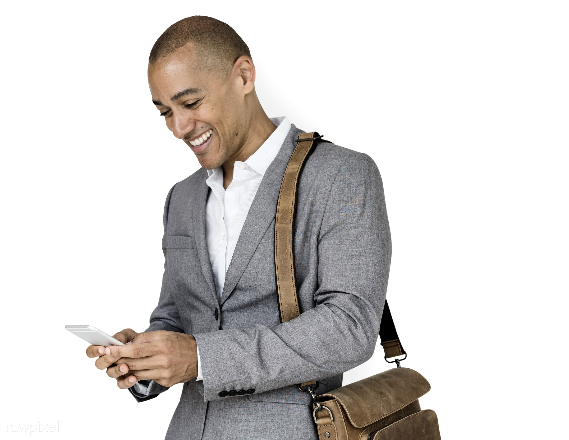 expression, studio, person, phone, messenger bag, isolated on white, people, business, happy, suits, smile, cheerful,...
