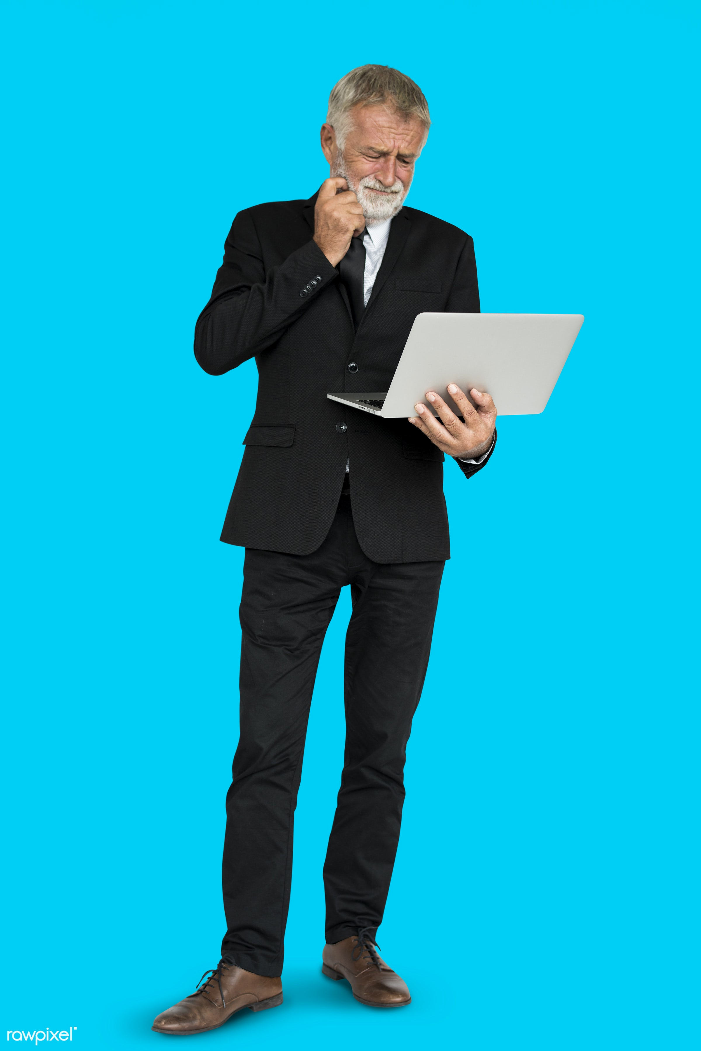 man, suit, standing, business man, holding, working, thinking, think, laptop, hold, business