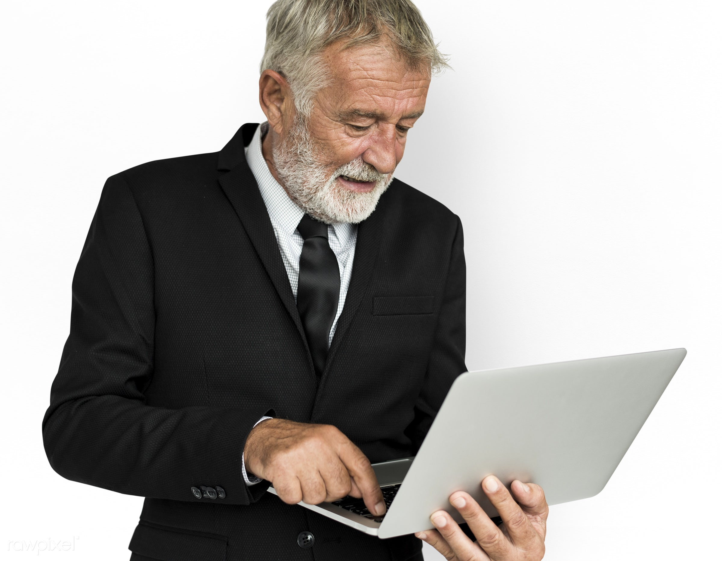 expression, studio, person, busy, people, business, caucasian, laptop, focused, working, serious, man, work, isolated,...