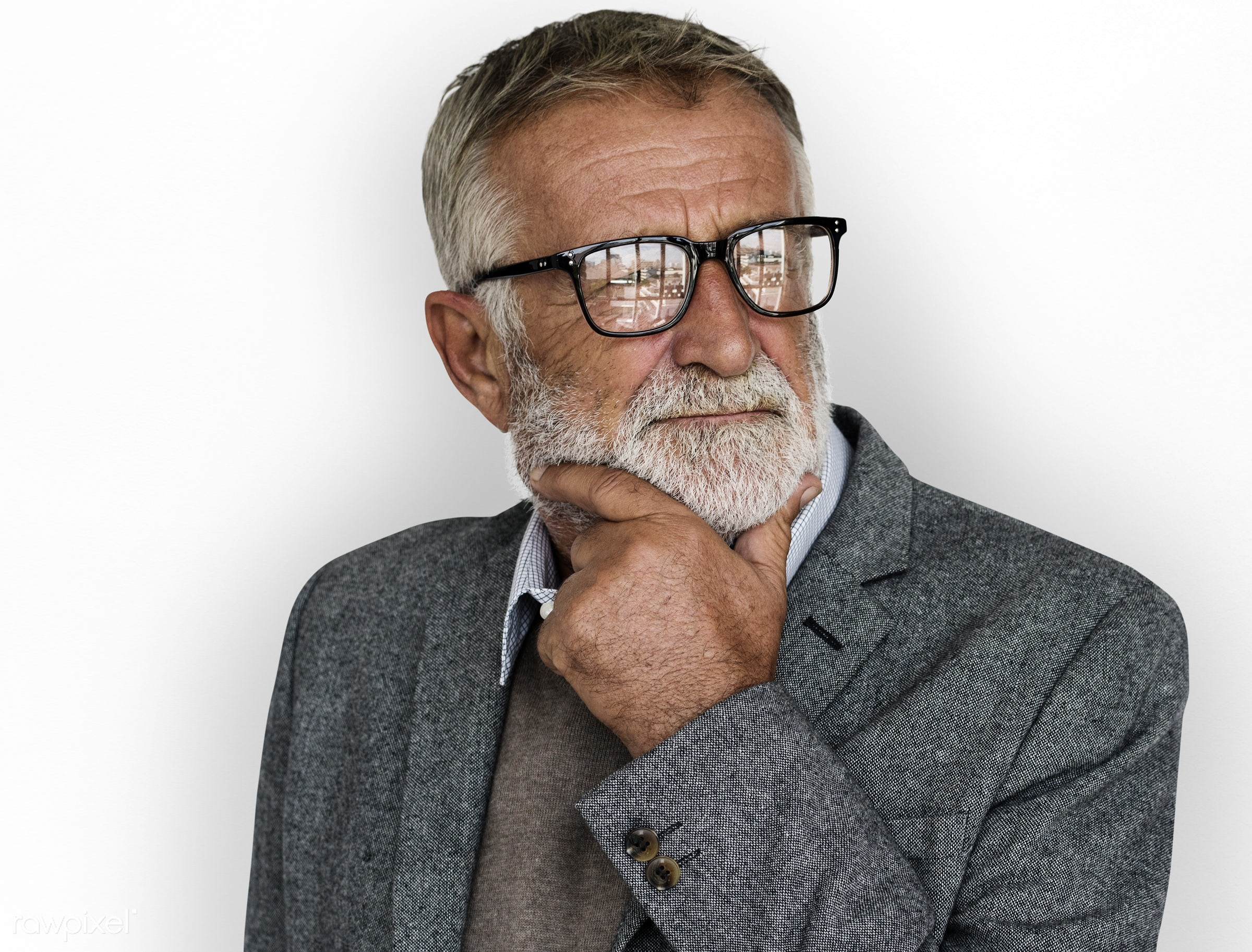 studio, expression, face, person, glasses, isolated on white, courage, carefree, people, business, businessman, fresh,...