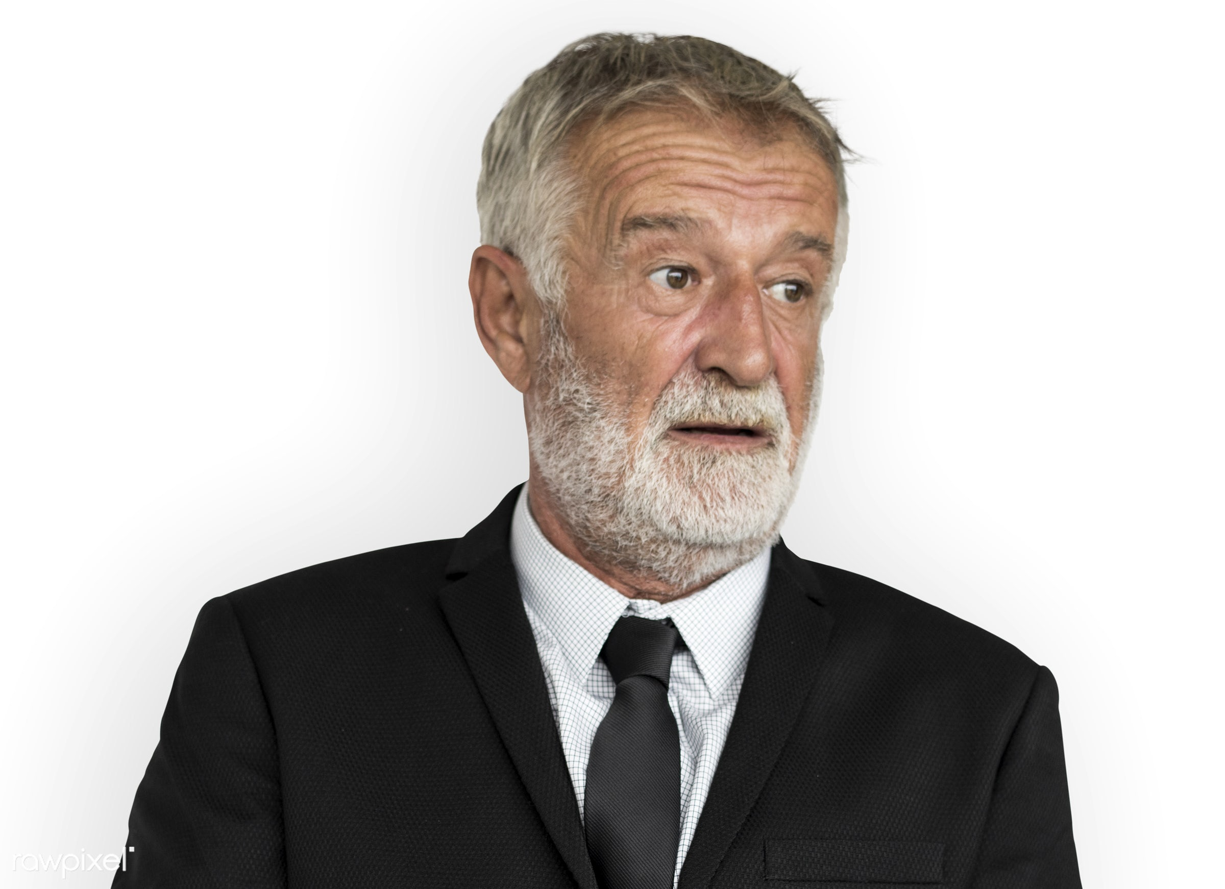 expression, studio, old, person, isolated on white, people, business, caucasian, focused, working, serious, man, neutral...