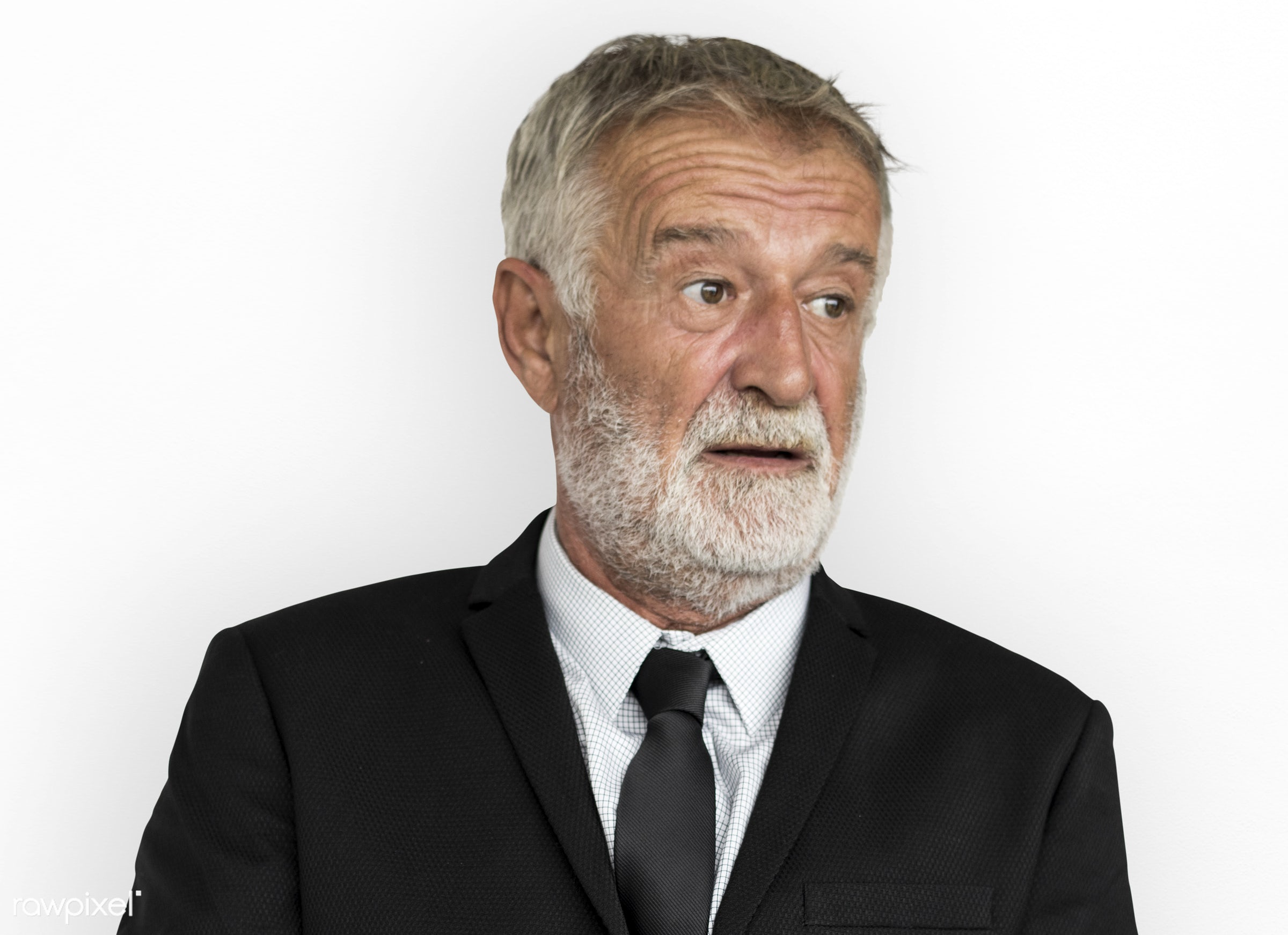 studio, expression, person, old, isolated on white, people, business, caucasian, focused, working, serious, man, neutral...