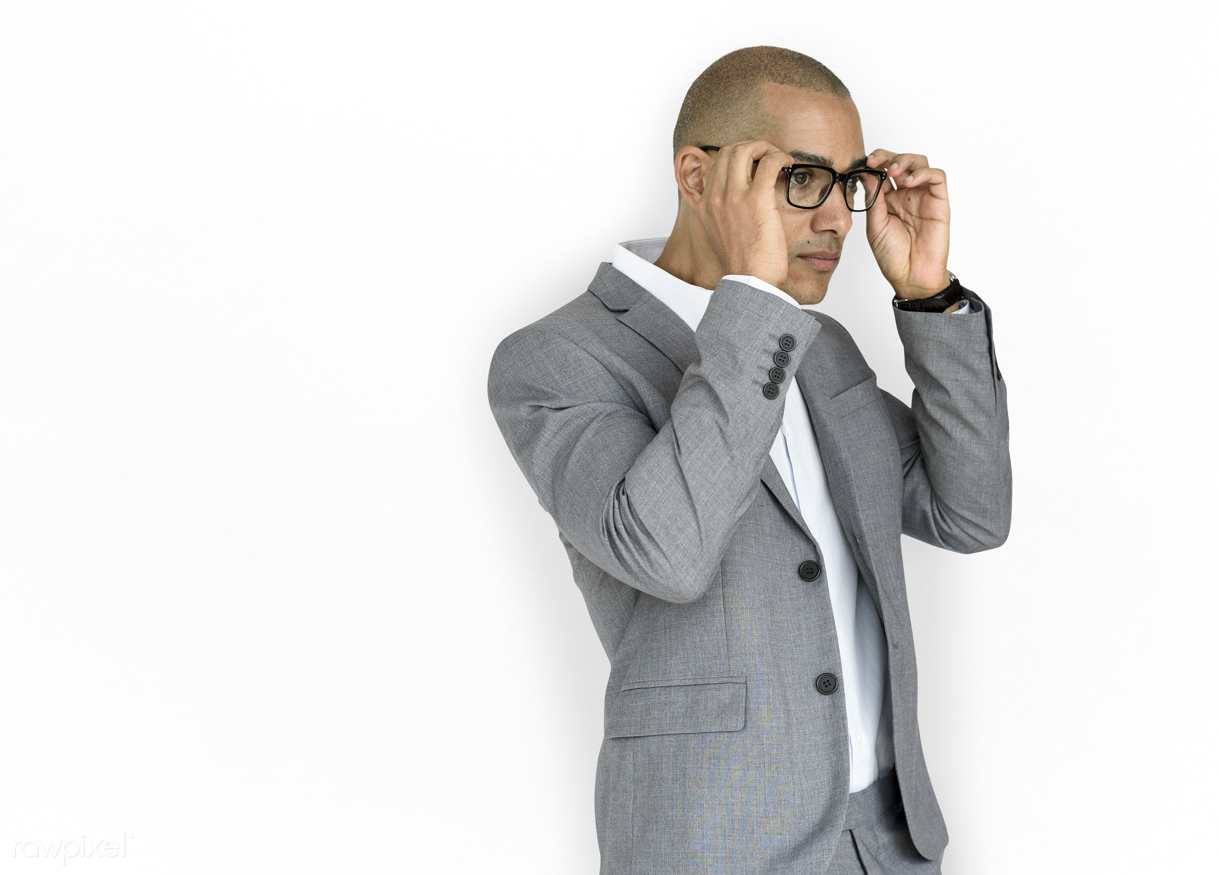 expression, studio, face, person, glasses, isolated on white, courage, carefree, people, business, businessman, fresh,...