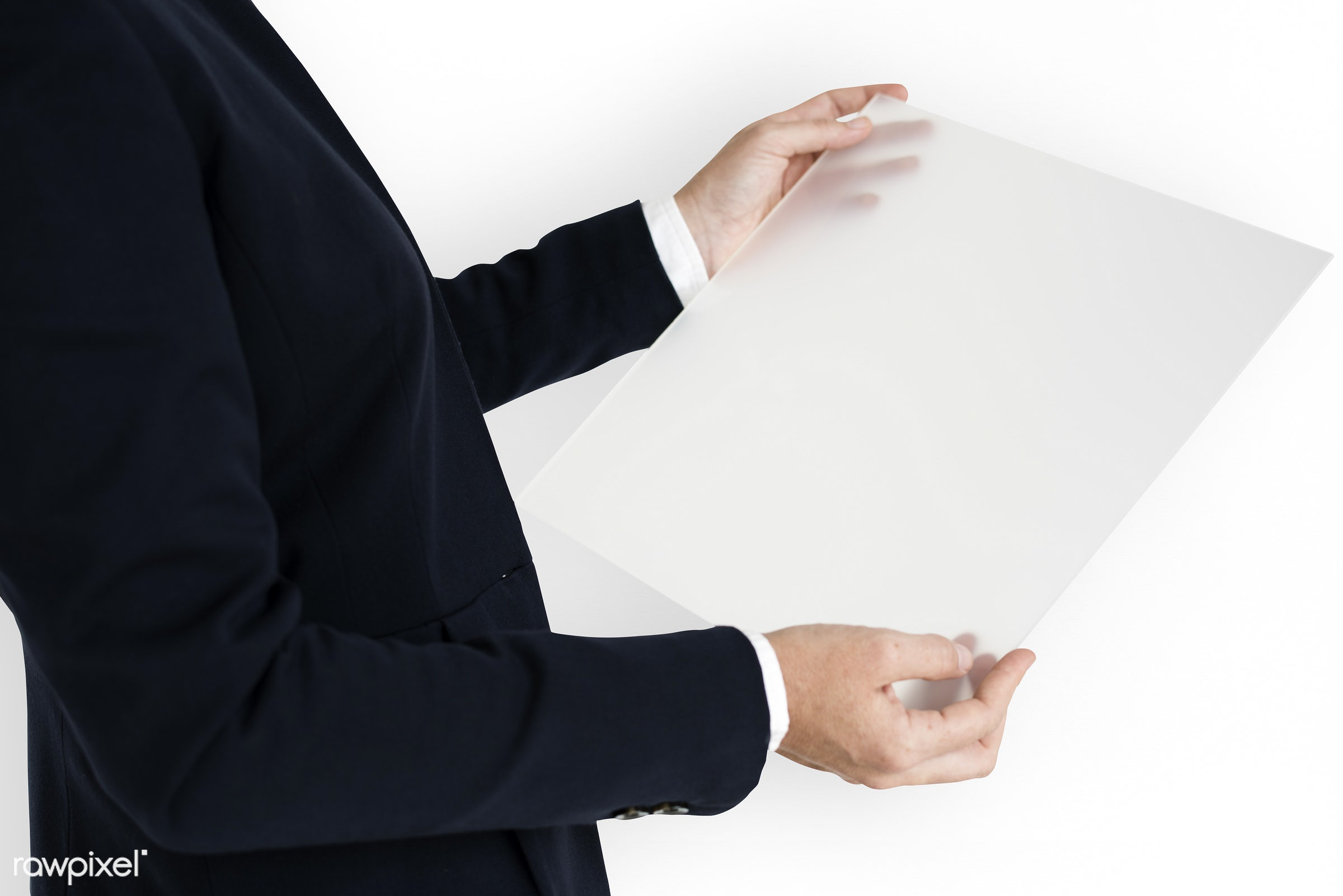 studio, expression, person, holding, business wear, paper, isolated on white, show, briefing, people, business, document,...