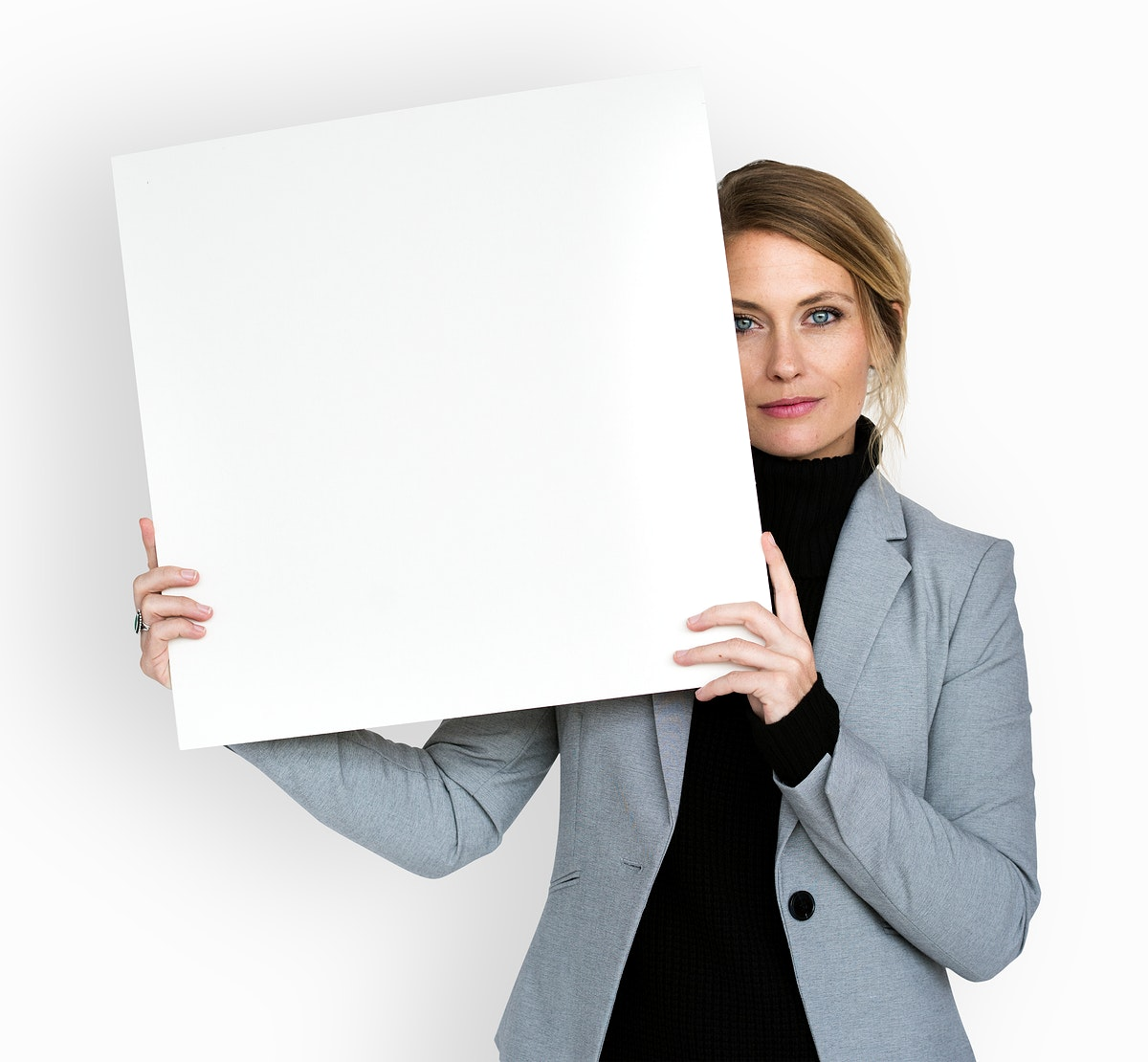 Caucasian Business Woman Holding Paper