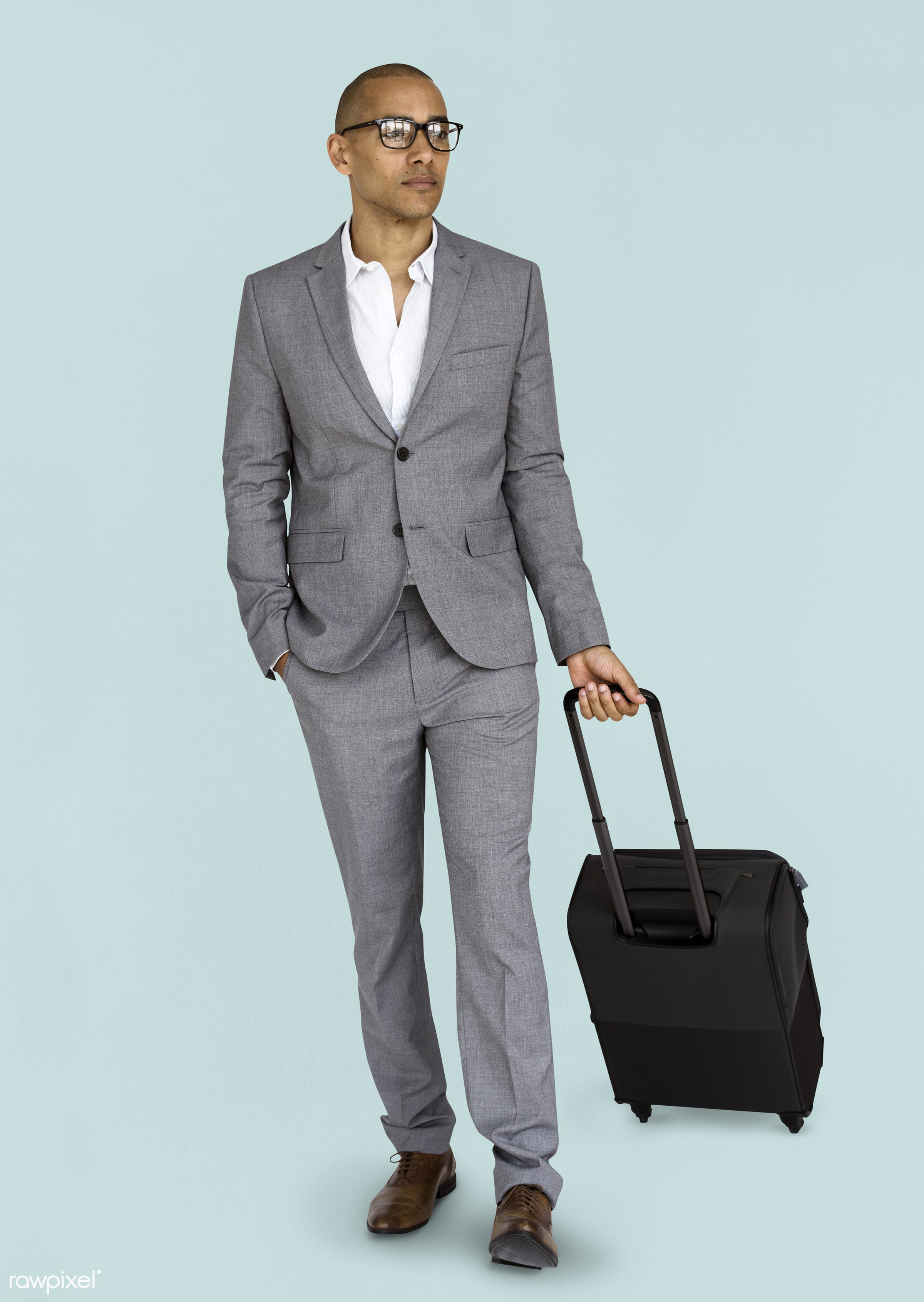 studio, face, person, glasses, travel, people, business, businessman, trip, man, isolated, suitcase, male, traveler,...