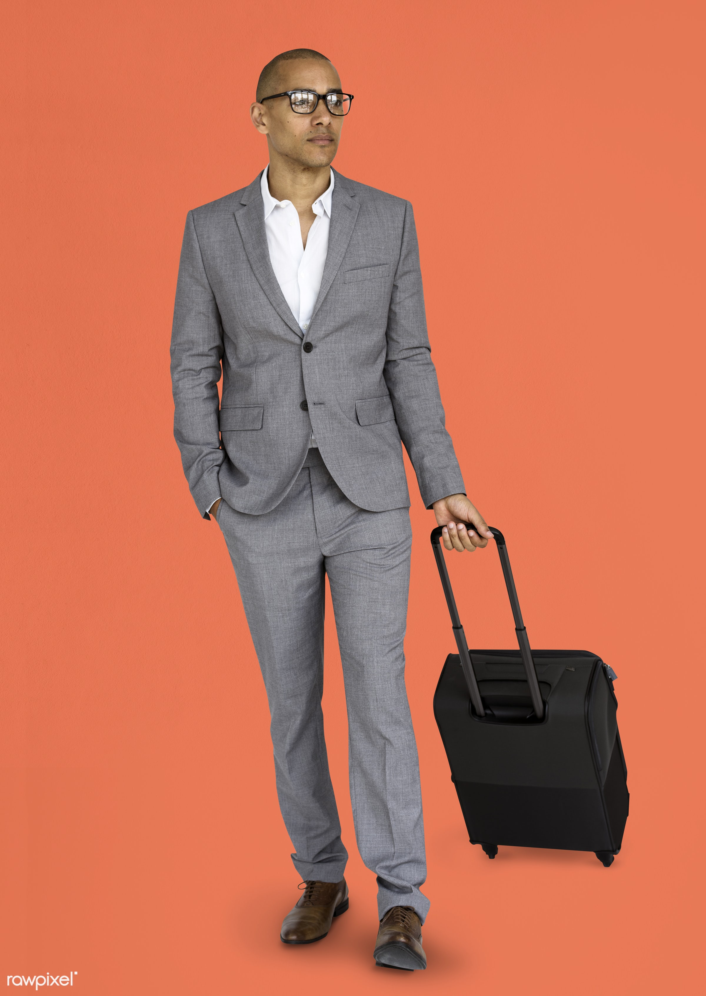 studio, face, person, glasses, travel, people, business, businessman, trip, man, orange, isolated, suitcase, male, traveler...