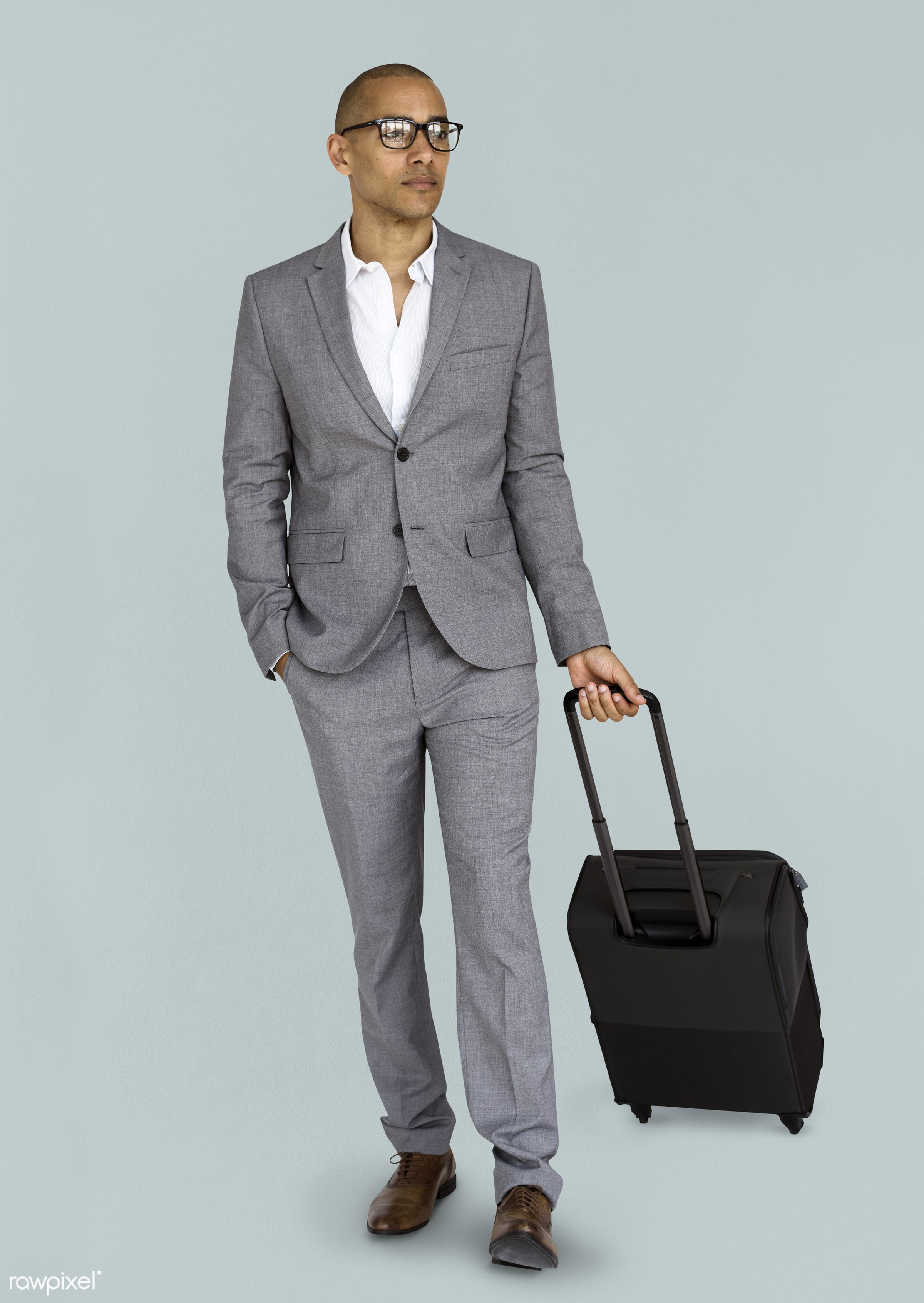 studio, face, person, glasses, travel, people, business, businessman, grey, trip, man, isolated, suitcase, male, traveler,...