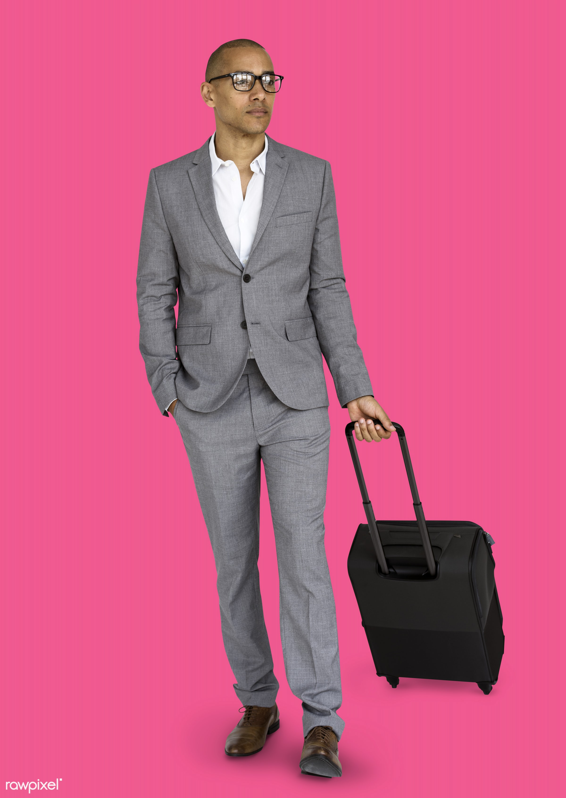studio, face, person, glasses, travel, people, business, businessman, pink, trip, man, isolated, suitcase, male, traveler,...