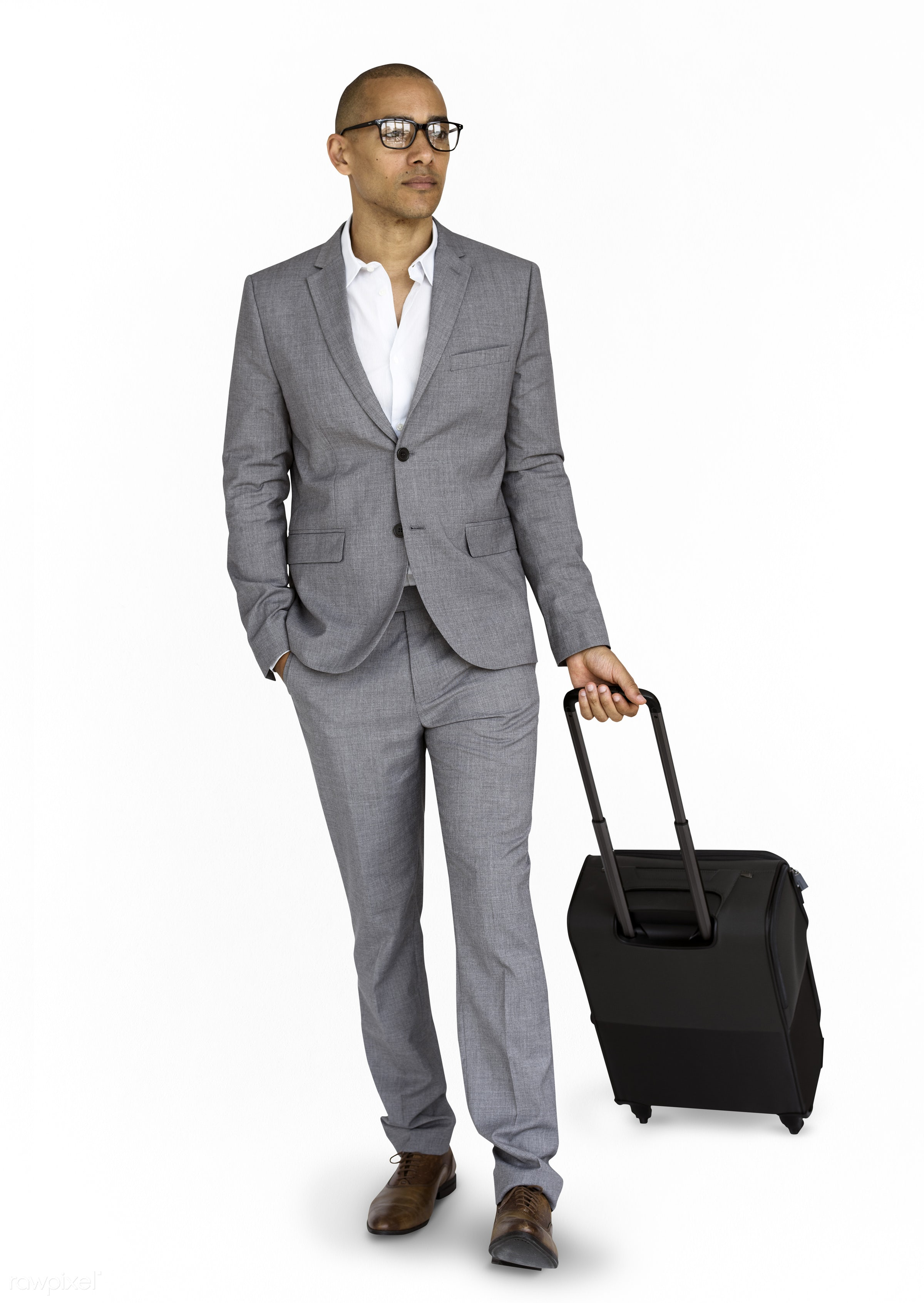 studio, face, person, glasses, isolated on white, travel, people, business, businessman, trip, man, isolated, suitcase, male...