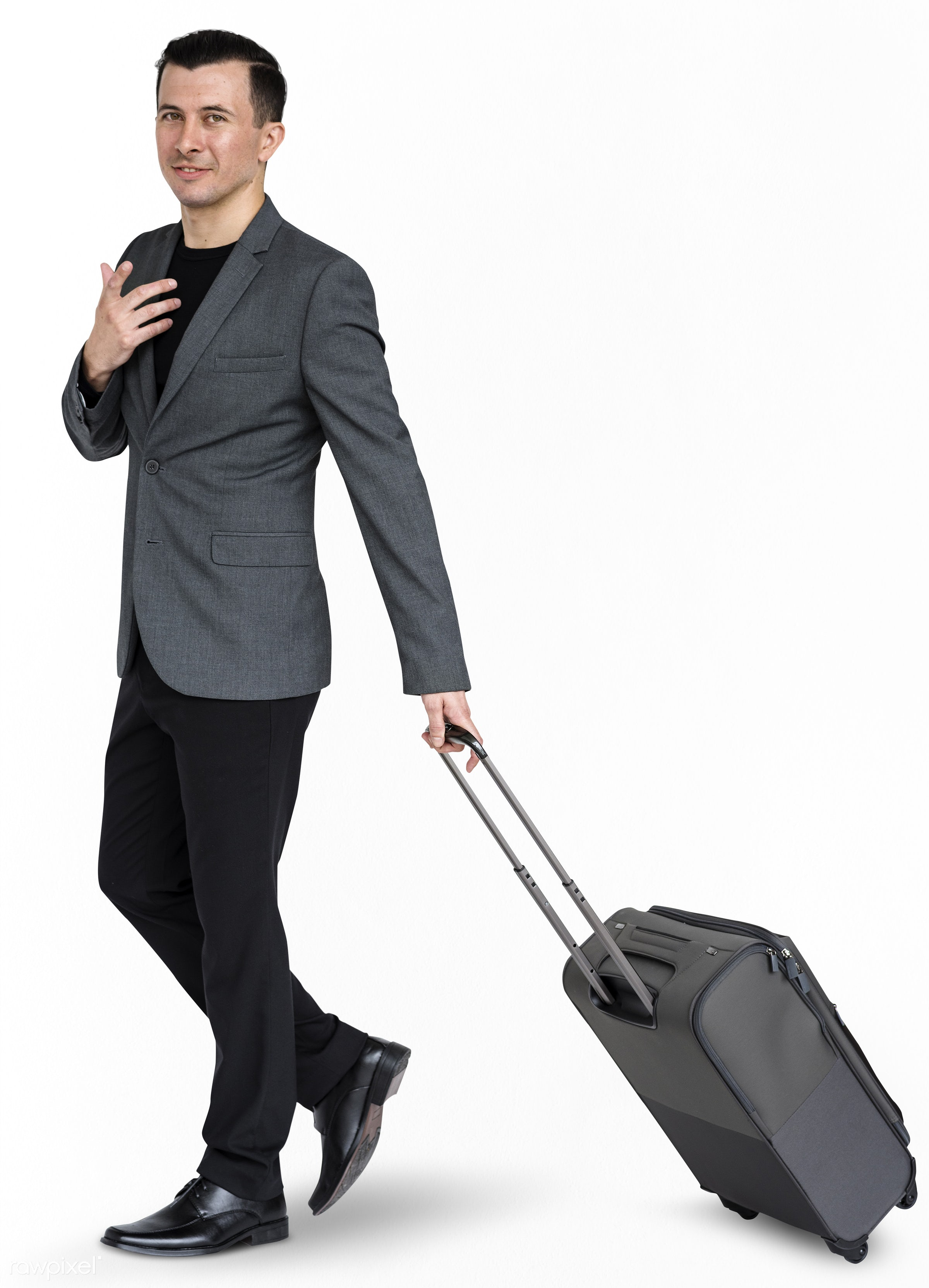studio, face, person, isolated on white, joy, travel, people, business, businessman, happy, trip, smile, cheerful, man,...