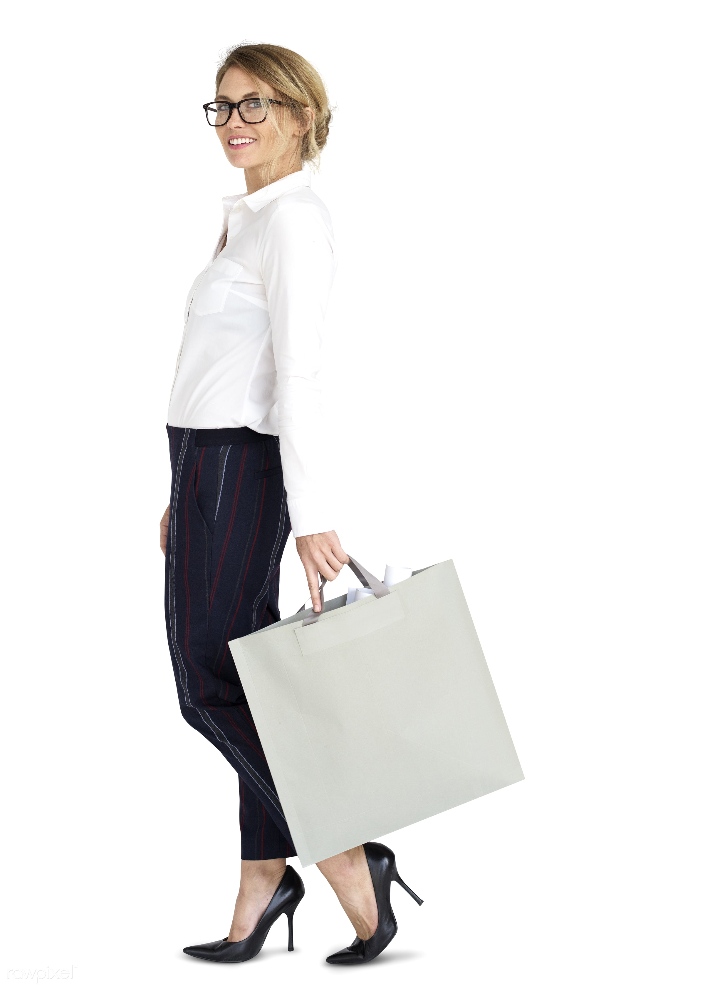 studio, expression, person, people, woman, smile, cheerful, smiling, isolated, bag, white, happiness, businesswoman,...