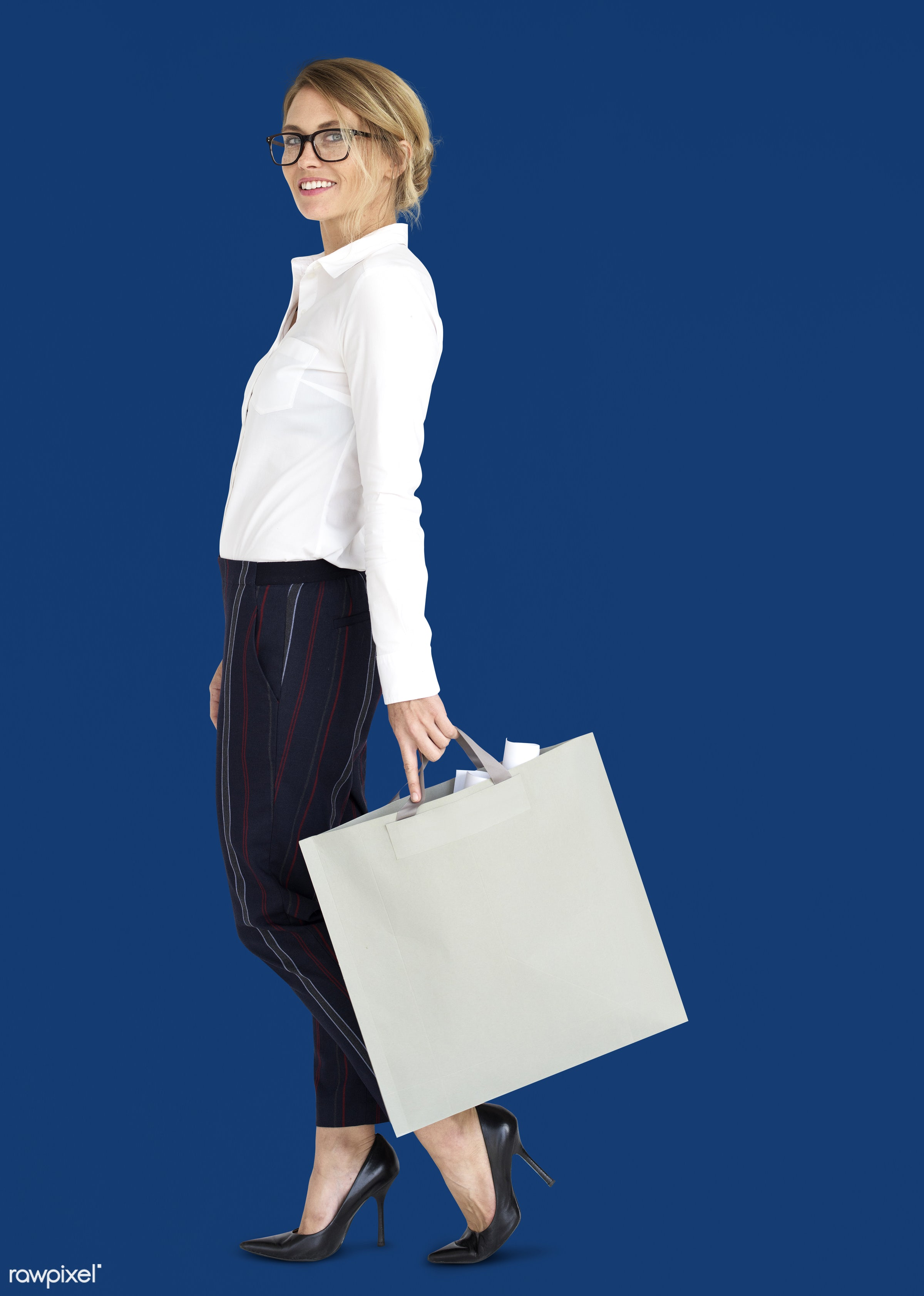 studio, expression, person, people, woman, smile, cheerful, smiling, isolated, bag, happiness, businesswoman, portrait,...