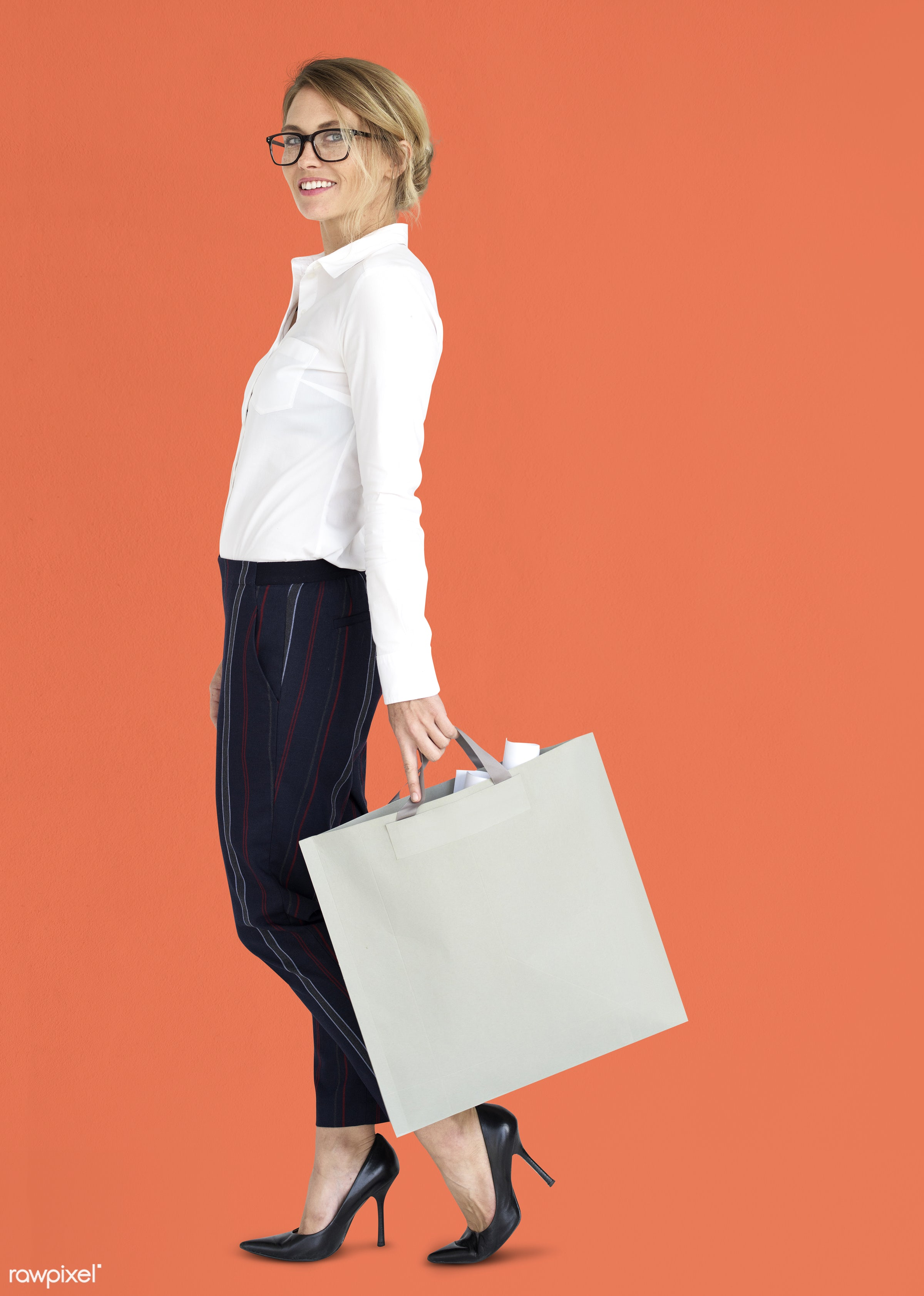 studio, expression, person, people, woman, smile, cheerful, smiling, orange, isolated, bag, happiness, businesswoman,...