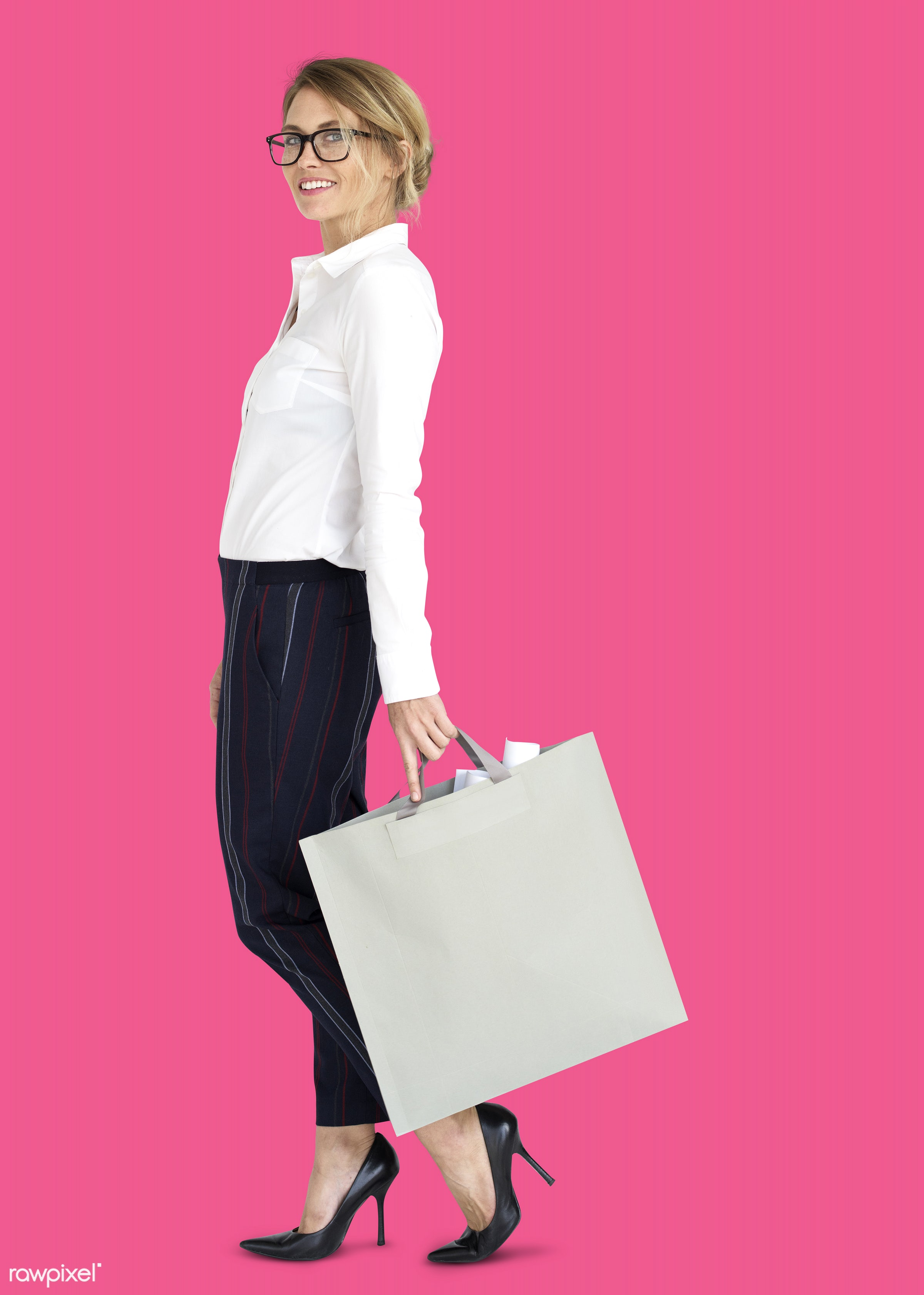 studio, expression, person, people, woman, pink, smile, cheerful, smiling, isolated, bag, happiness, businesswoman, portrait...