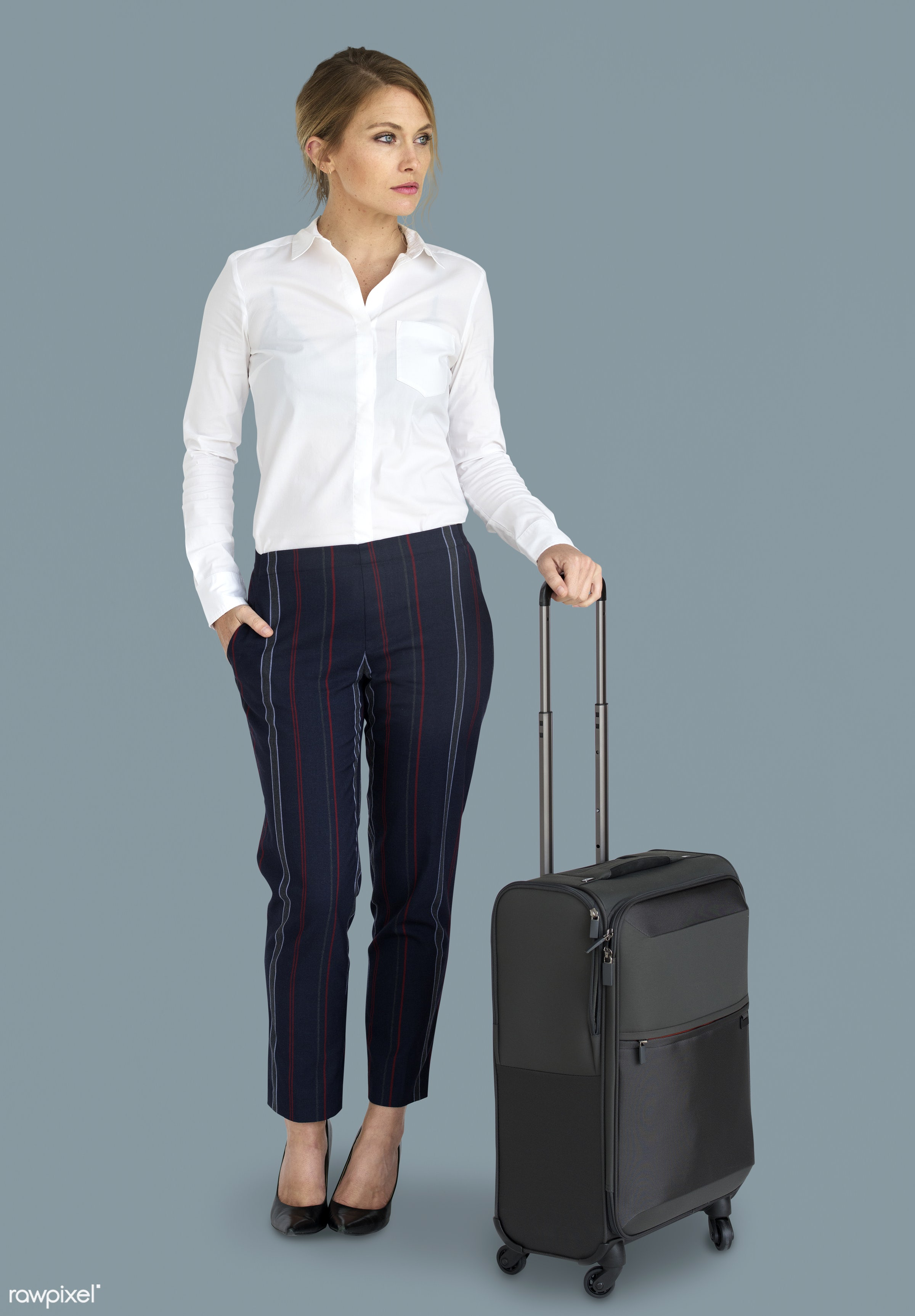 studio, face, person, travel, people, business, grey, trip, man, isolated, suitcase, male, traveler, businesswoman, business...