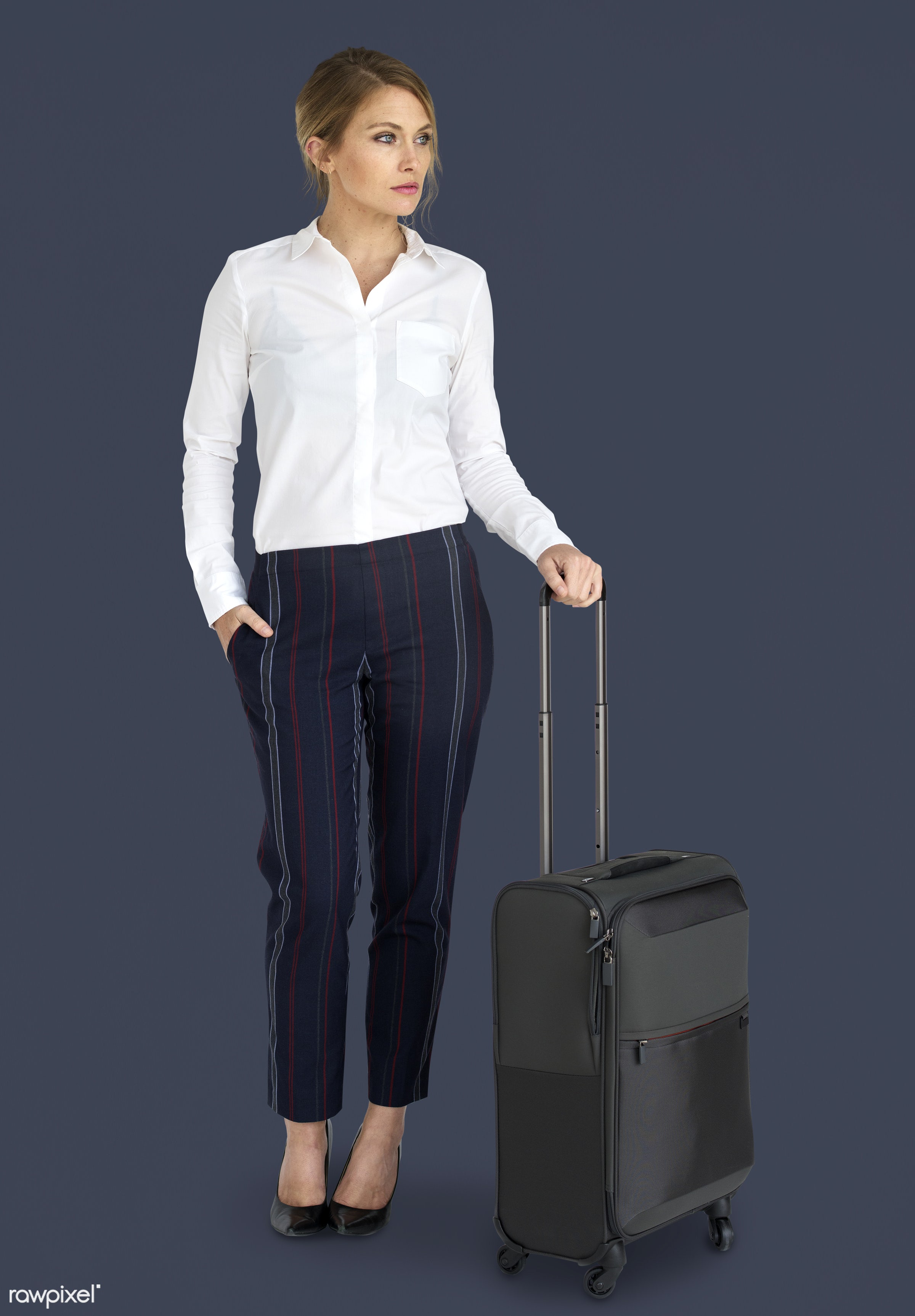 studio, face, person, travel, people, business, trip, man, isolated, suitcase, male, traveler, businesswoman, business...