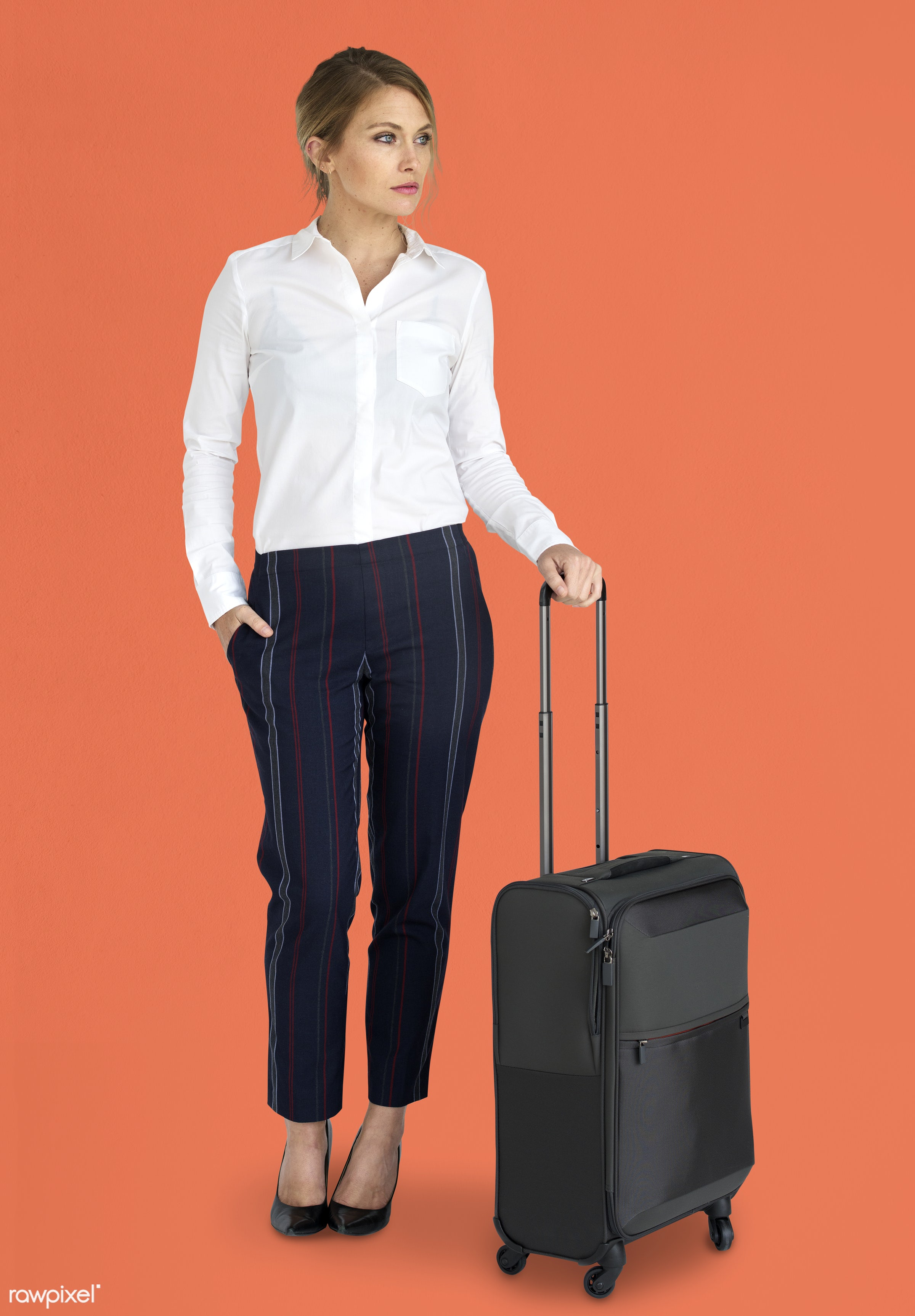 studio, face, person, travel, people, business, trip, man, orange, isolated, suitcase, male, traveler, businesswoman,...