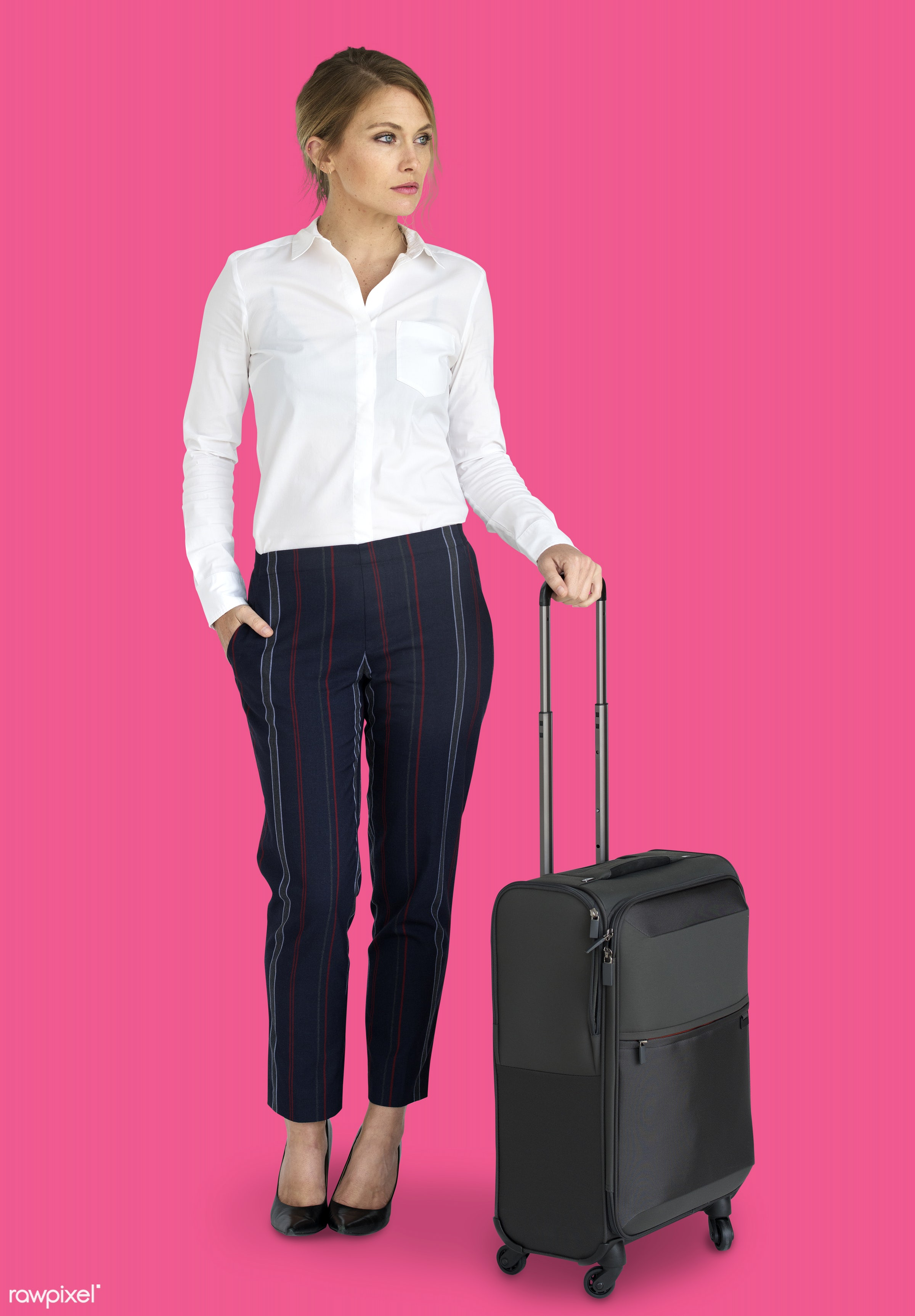 studio, face, person, travel, people, business, pink, trip, man, isolated, suitcase, male, traveler, businesswoman, business...