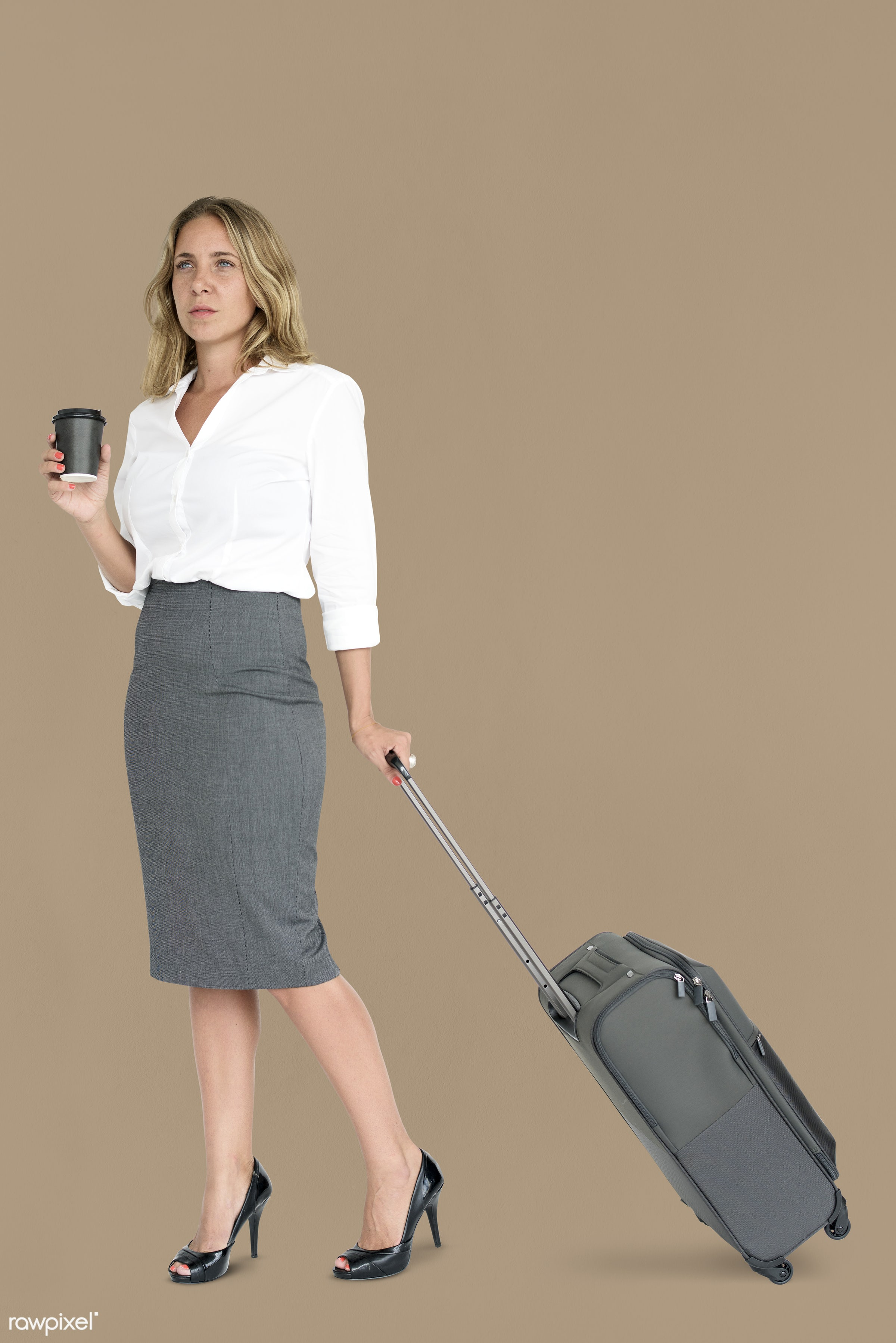 cup, studio, face, person, travel, people, drinks, business, trip, man, isolated, suitcase, male, coffee, traveler,...