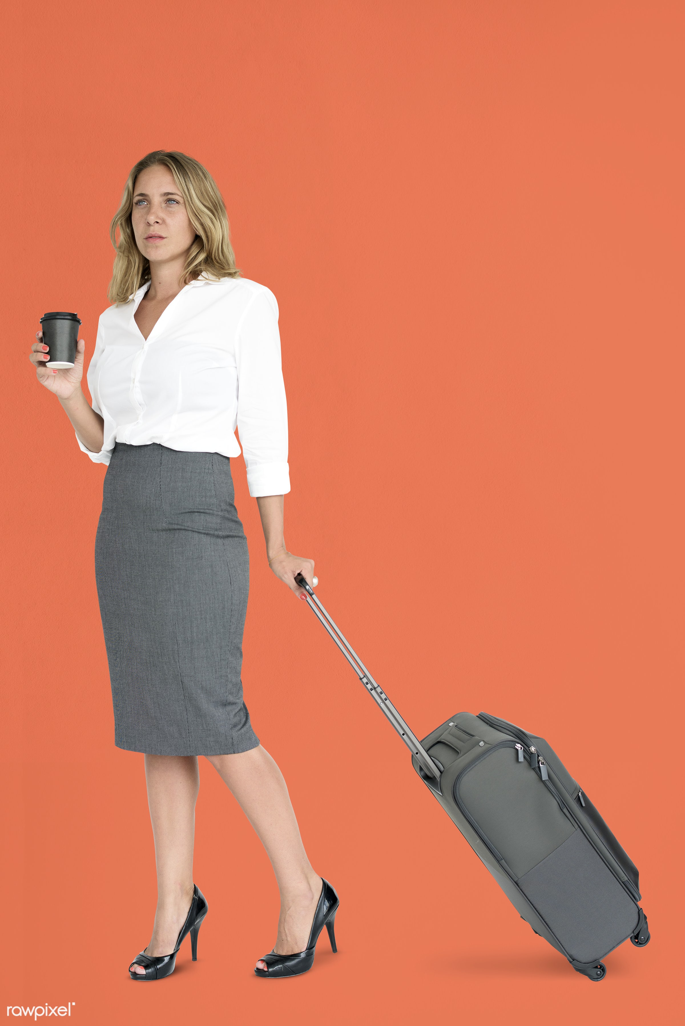 cup, studio, face, person, travel, people, drinks, business, trip, man, orange, isolated, suitcase, coffee, male, traveler,...