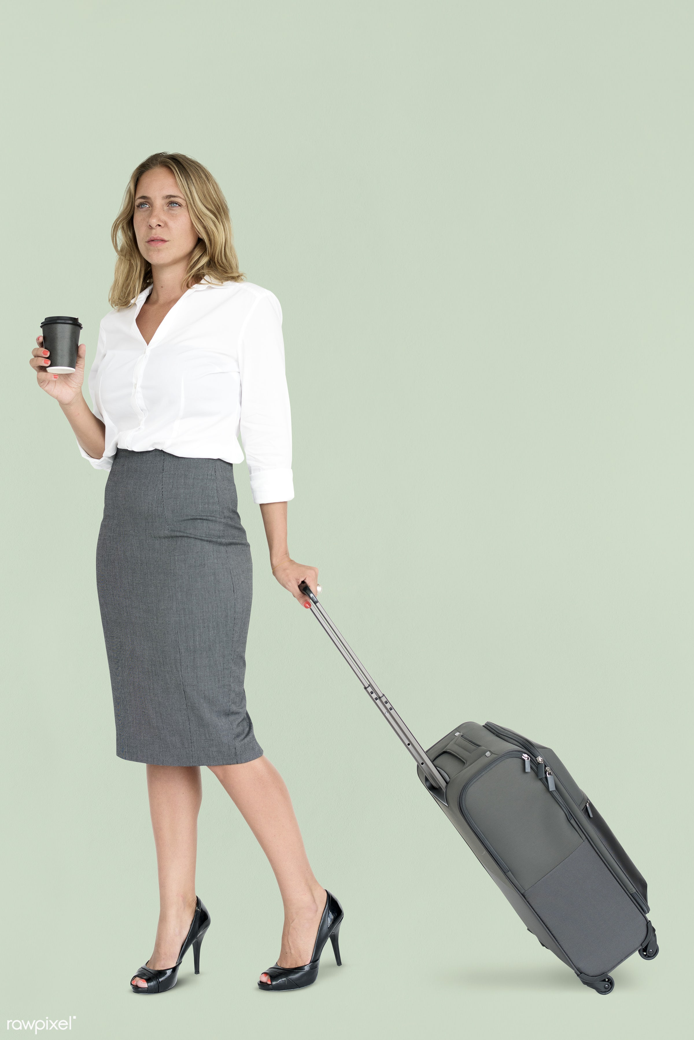 cup, studio, face, person, travel, people, drinks, business, trip, man, isolated, suitcase, green, coffee, male, traveler,...
