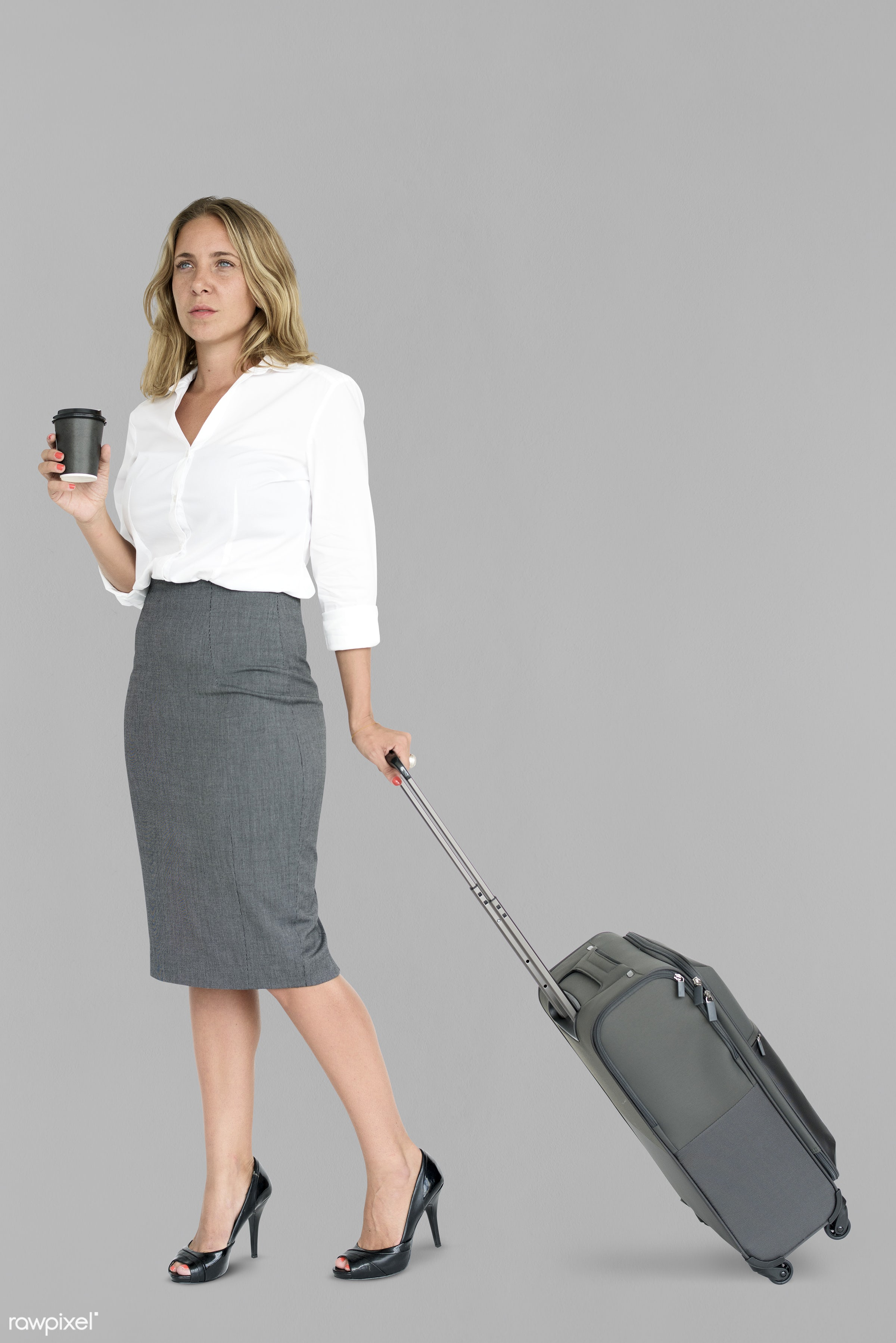 cup, studio, face, person, travel, people, drinks, business, grey, trip, man, isolated, suitcase, coffee, male, traveler,...