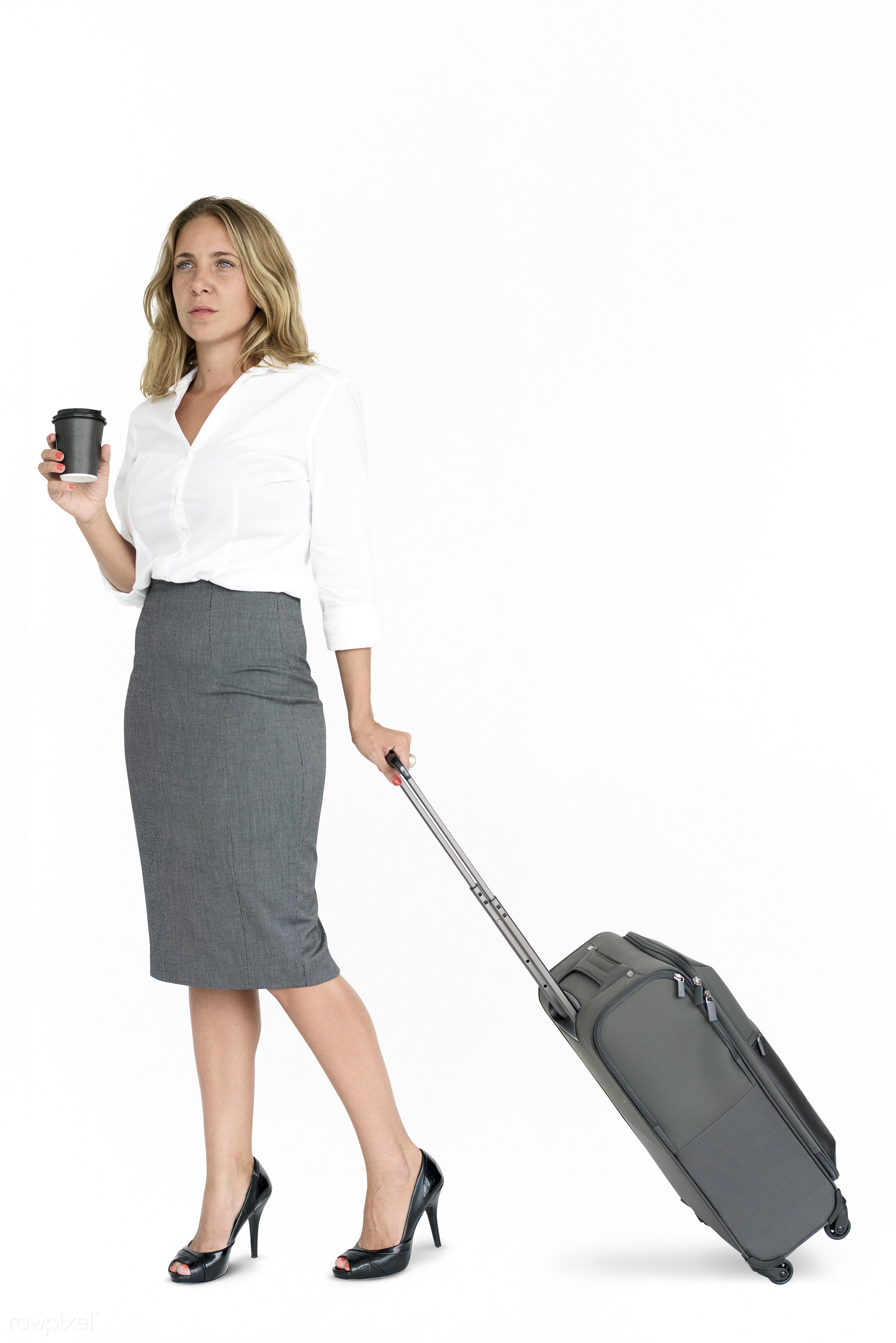cup, studio, face, person, isolated on white, travel, people, drinks, business, trip, man, isolated, suitcase, coffee, male...