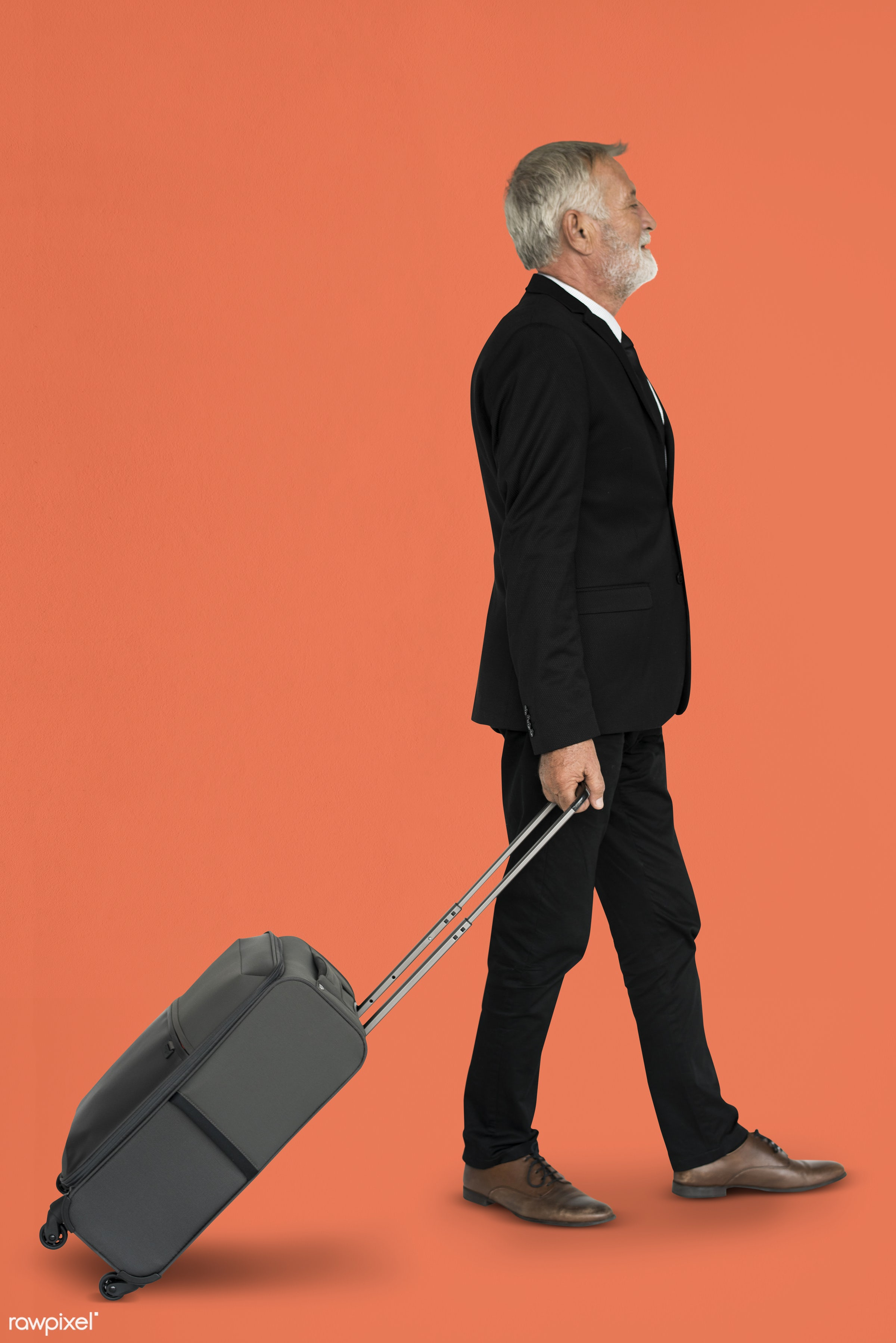 studio, face, person, travel, people, business, businessman, trip, man, orange, isolated, suitcase, male, traveler, business...