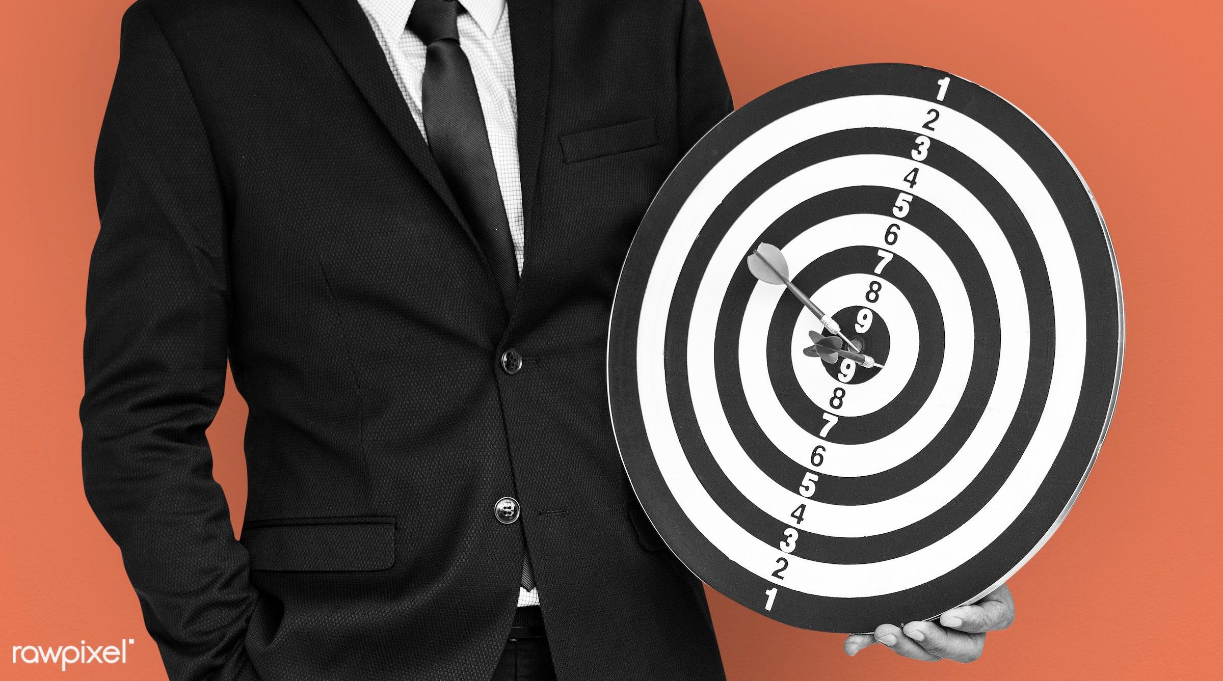score, achieve, adult, background, bullseye, business dress, business wear, dart board, darts, expression, formal, formal...